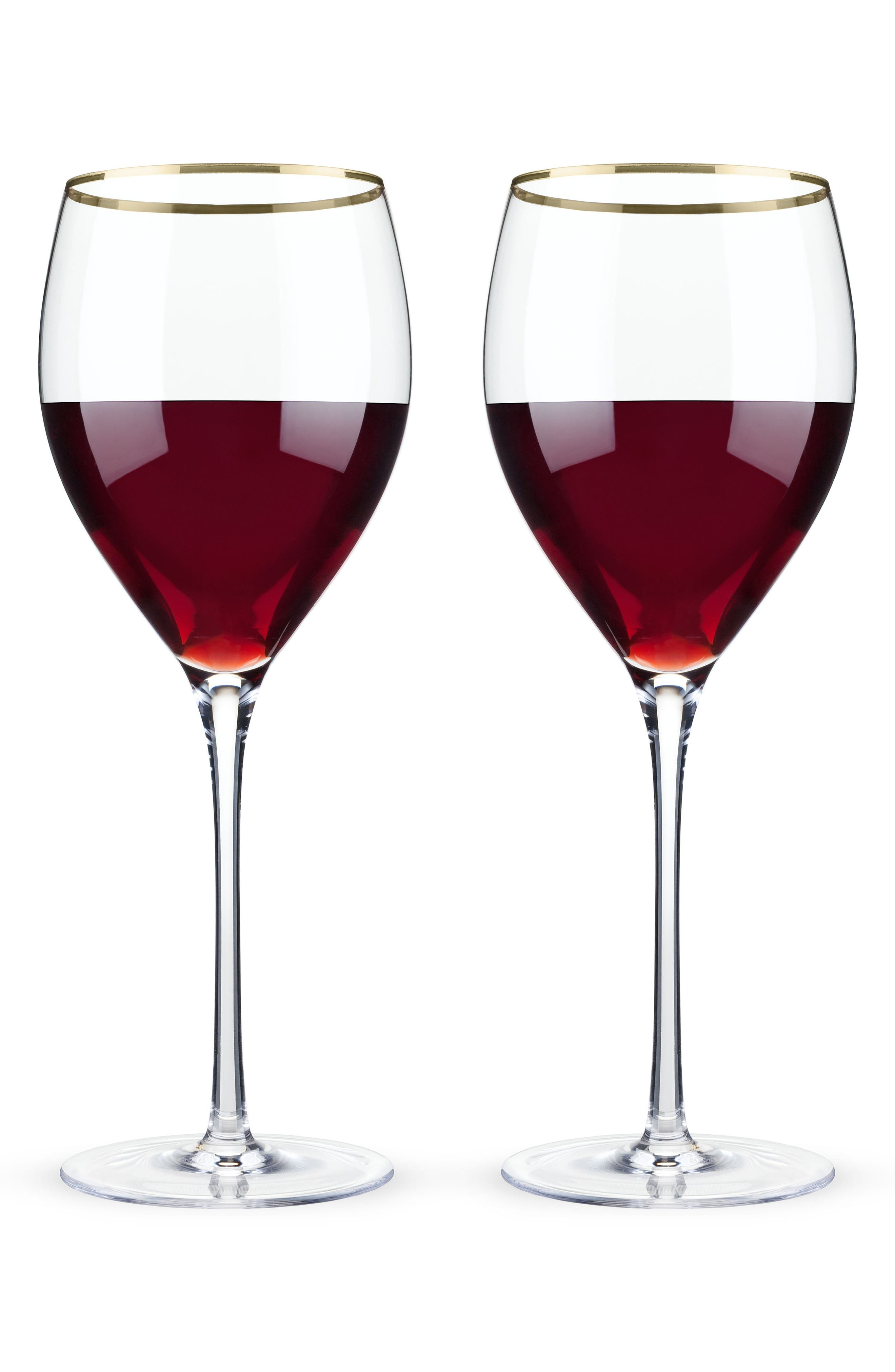 Belmont Set of 2 Gold Rim Wine Glasses,                         Main,                         color, White