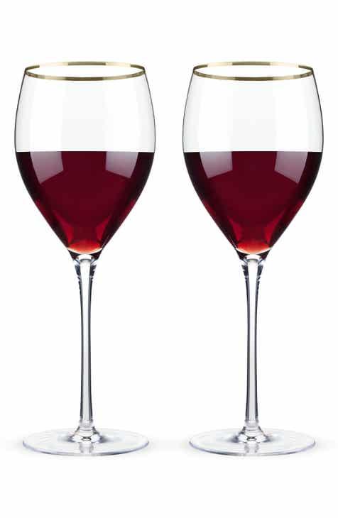 viski belmont set of 2 gold rim wine glasses