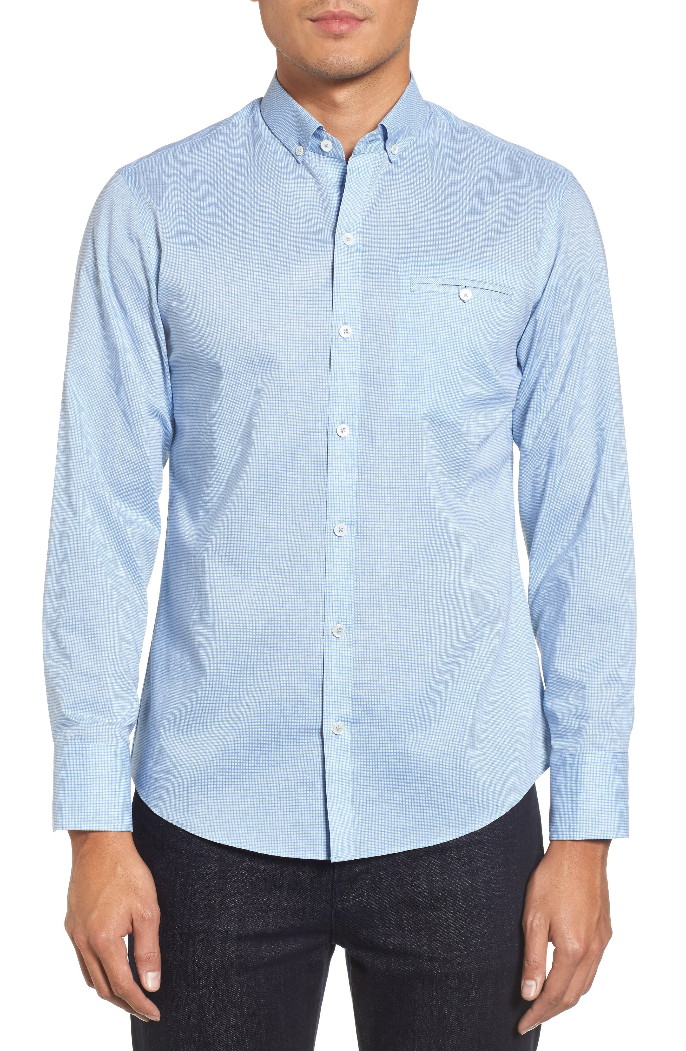 Forrest Textured Woven Sport Shirt,                             Main thumbnail 1, color,                             Ice Blue