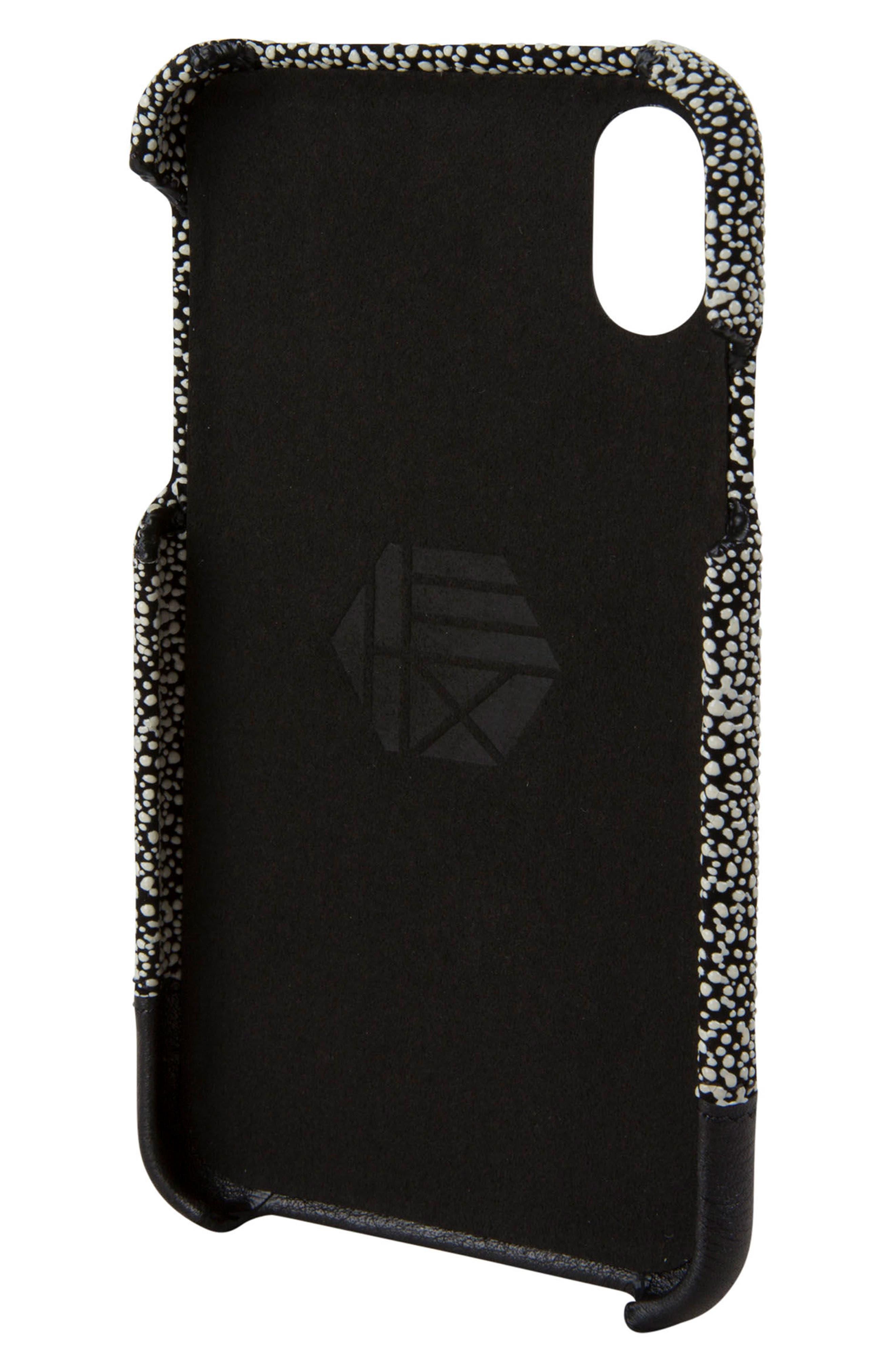Focus Leather iPhone X Case,                             Alternate thumbnail 3, color,                             Black/ White Stingray