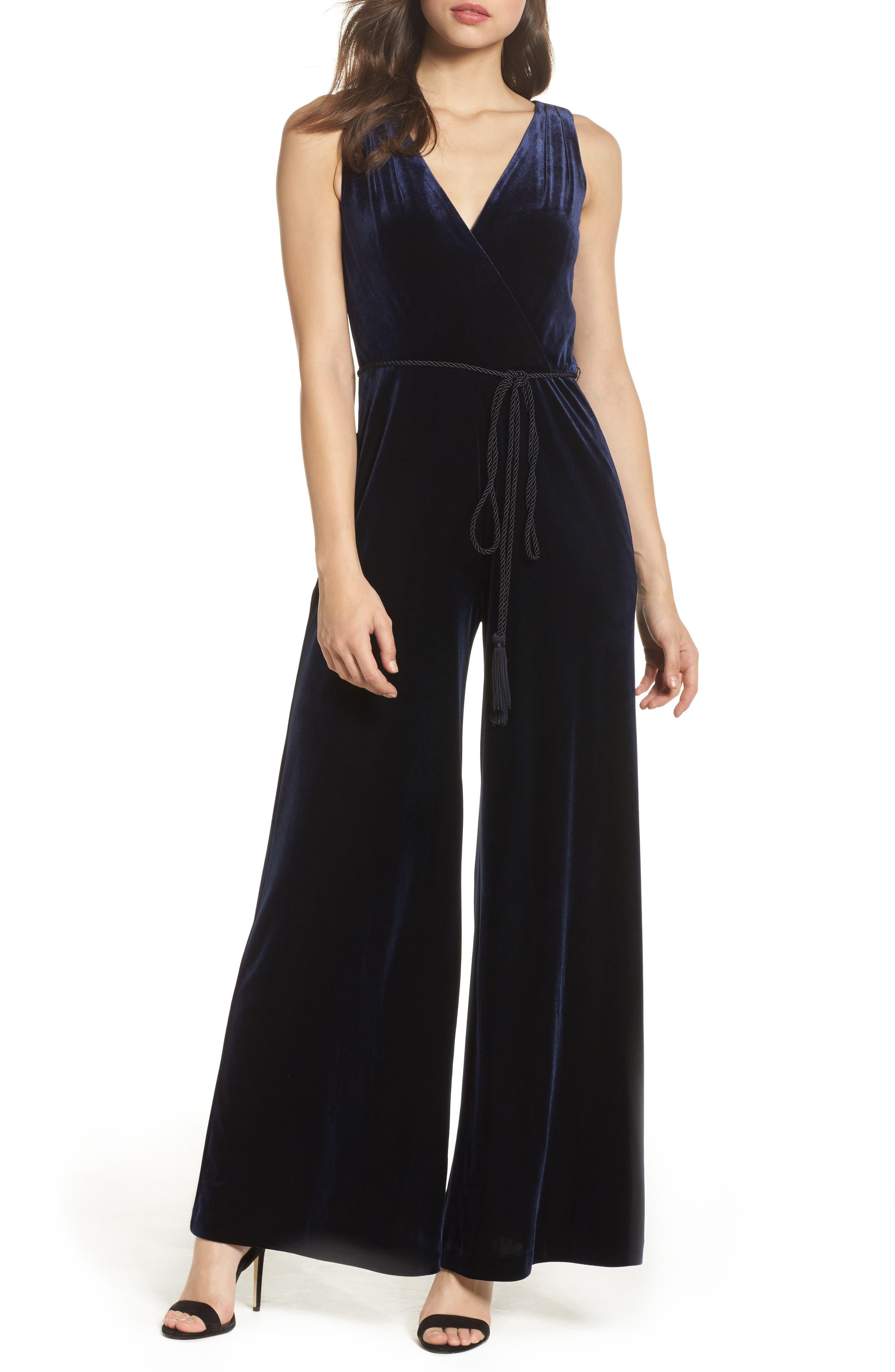Velvet Wide Leg Jumpsuit,                         Main,                         color, Navy