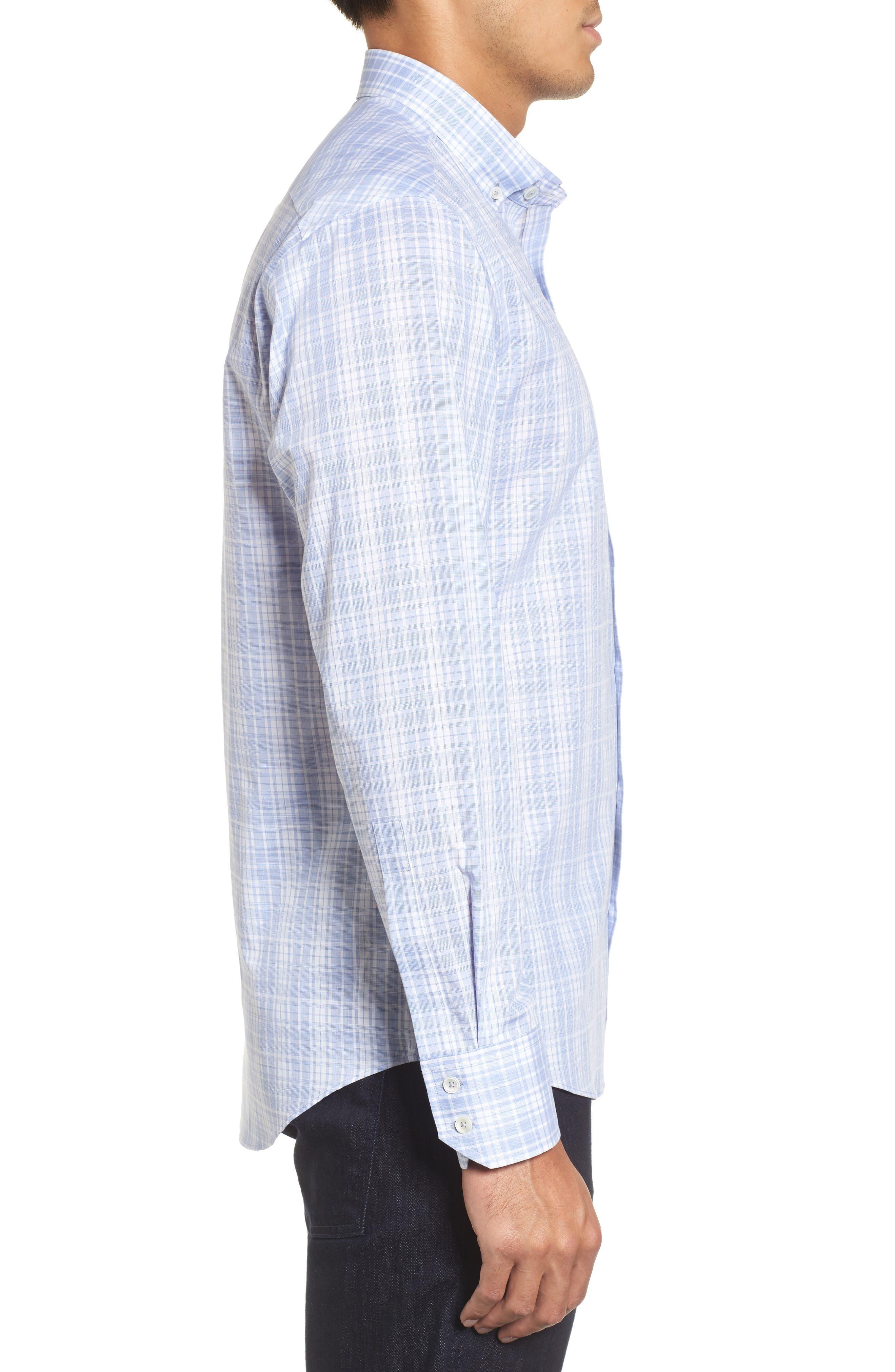 Cochran Slim Fit Plaid Sport Shirt,                             Alternate thumbnail 3, color,                             Blue