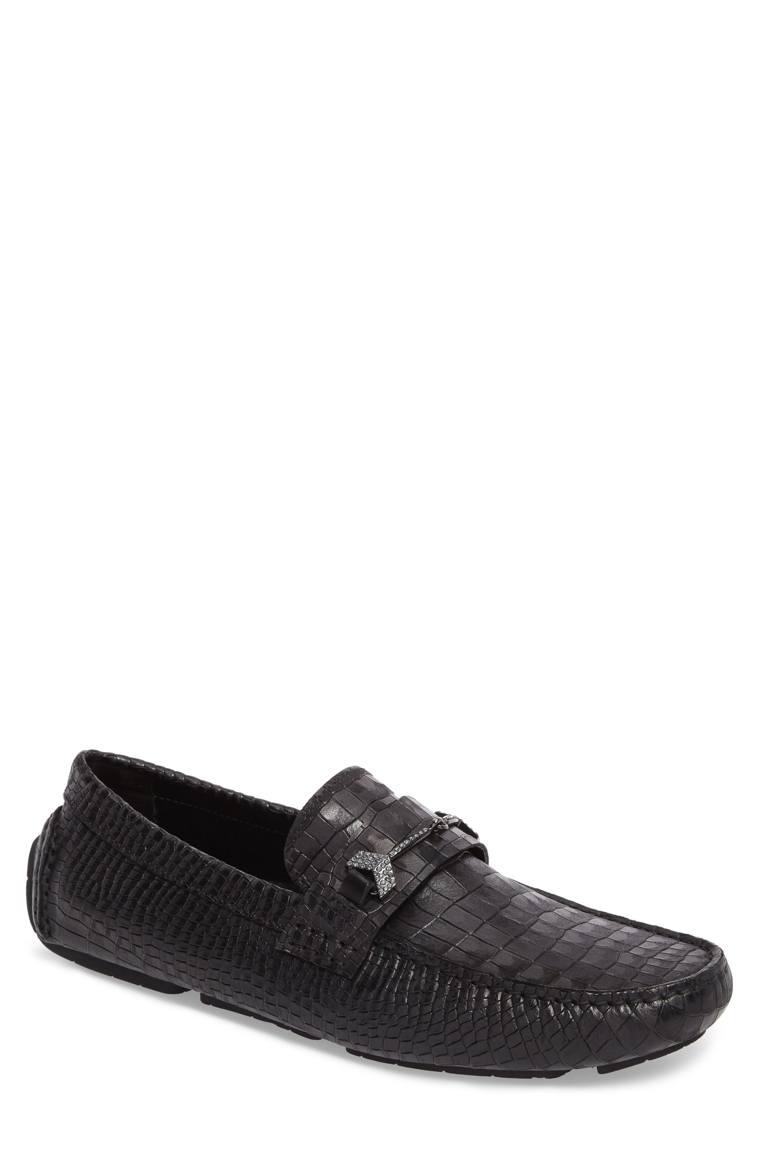 Brewer Croc Textured Driving Loafer,                             Main thumbnail 1, color,                             Black