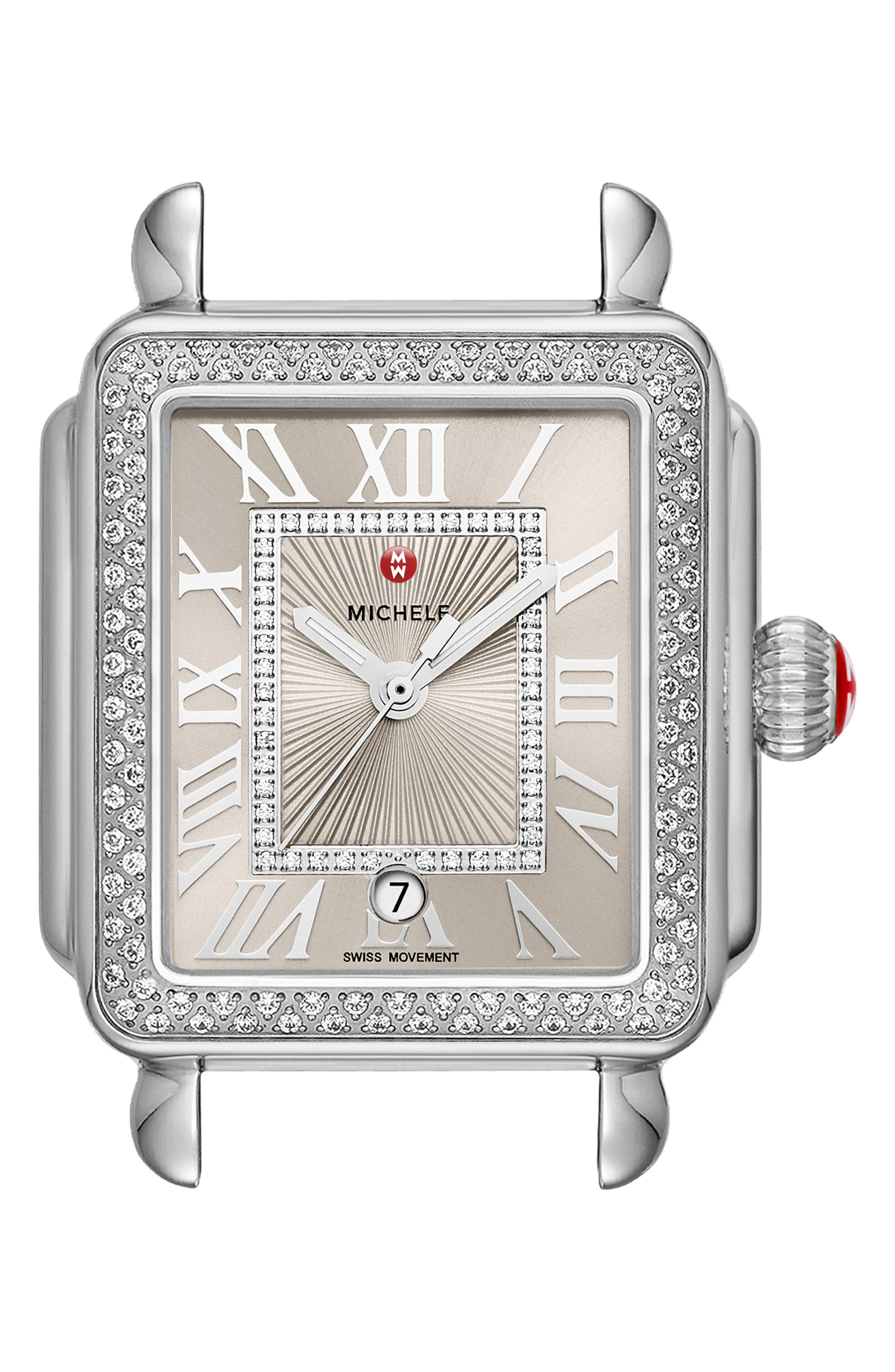 Deco Madison Diamond Dial Watch Case, 33mm x 35mm,                             Main thumbnail 1, color,                             Silver/ Cashmere/ Silver