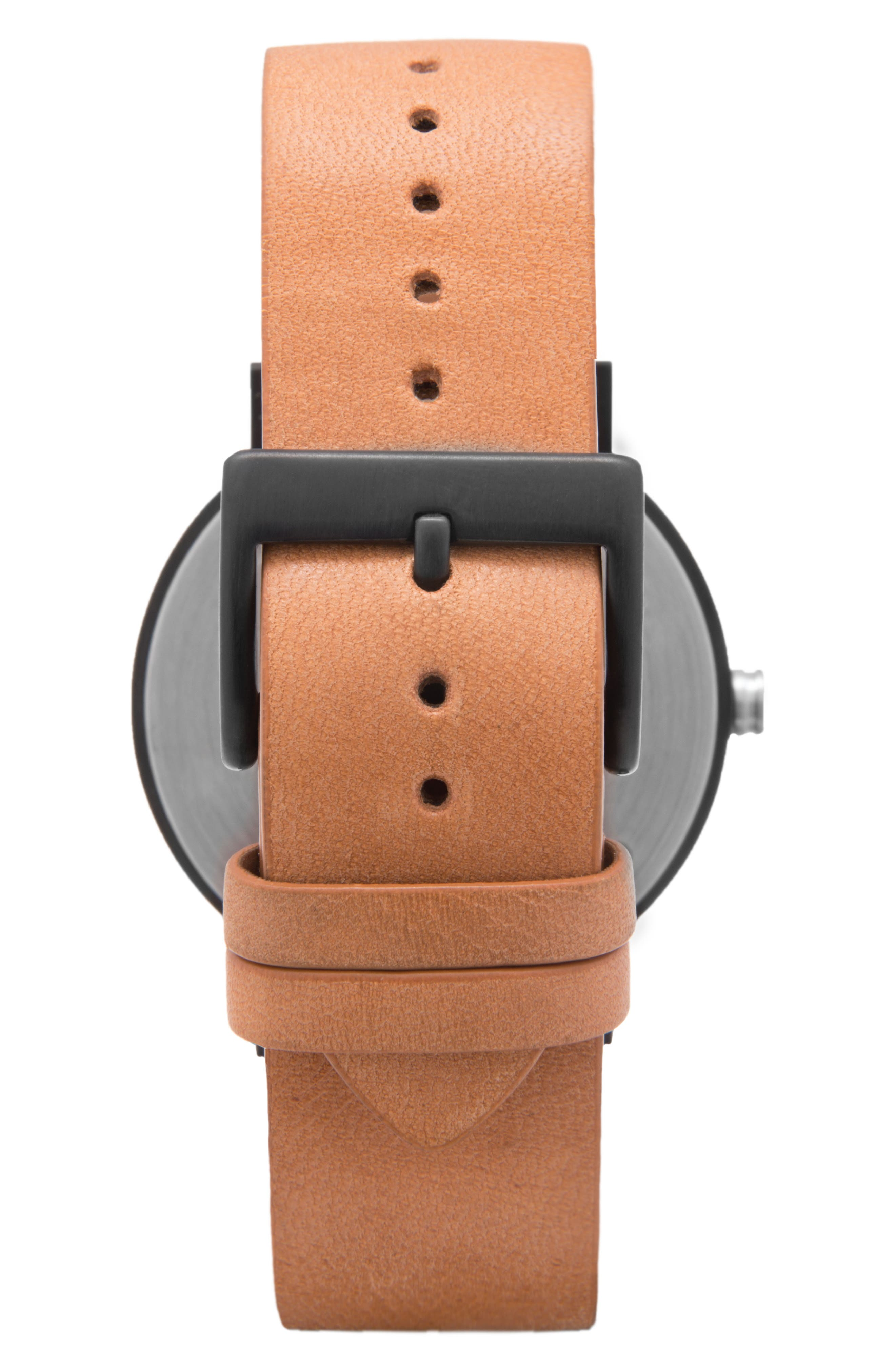 Leonard & Church Thompson Leather Strap Watch, 40mm,                             Alternate thumbnail 4, color,                             Chestnut/ White/ Black