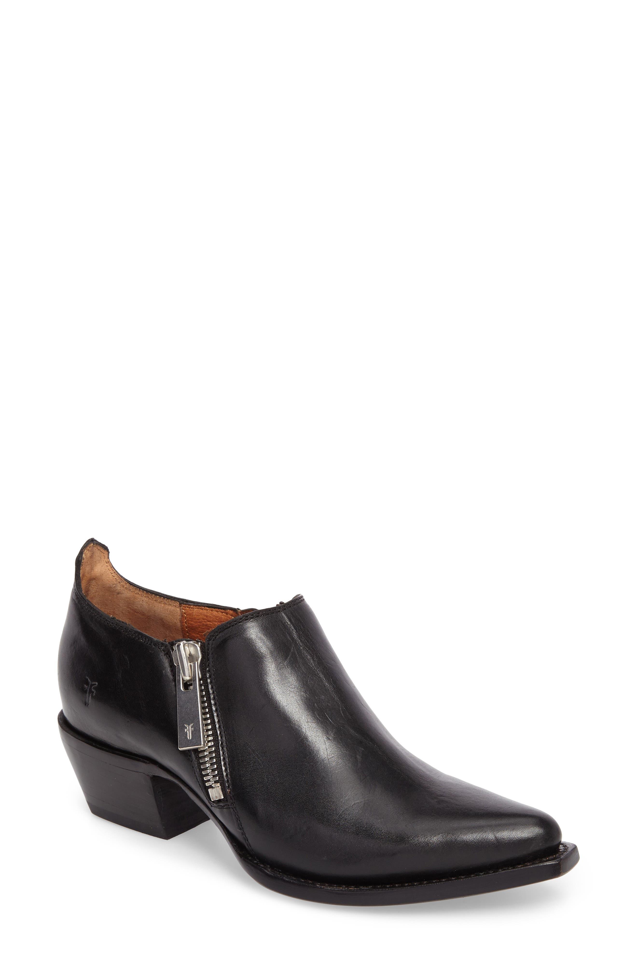 Sacha Double Zip Bootie,                         Main,                         color, Black
