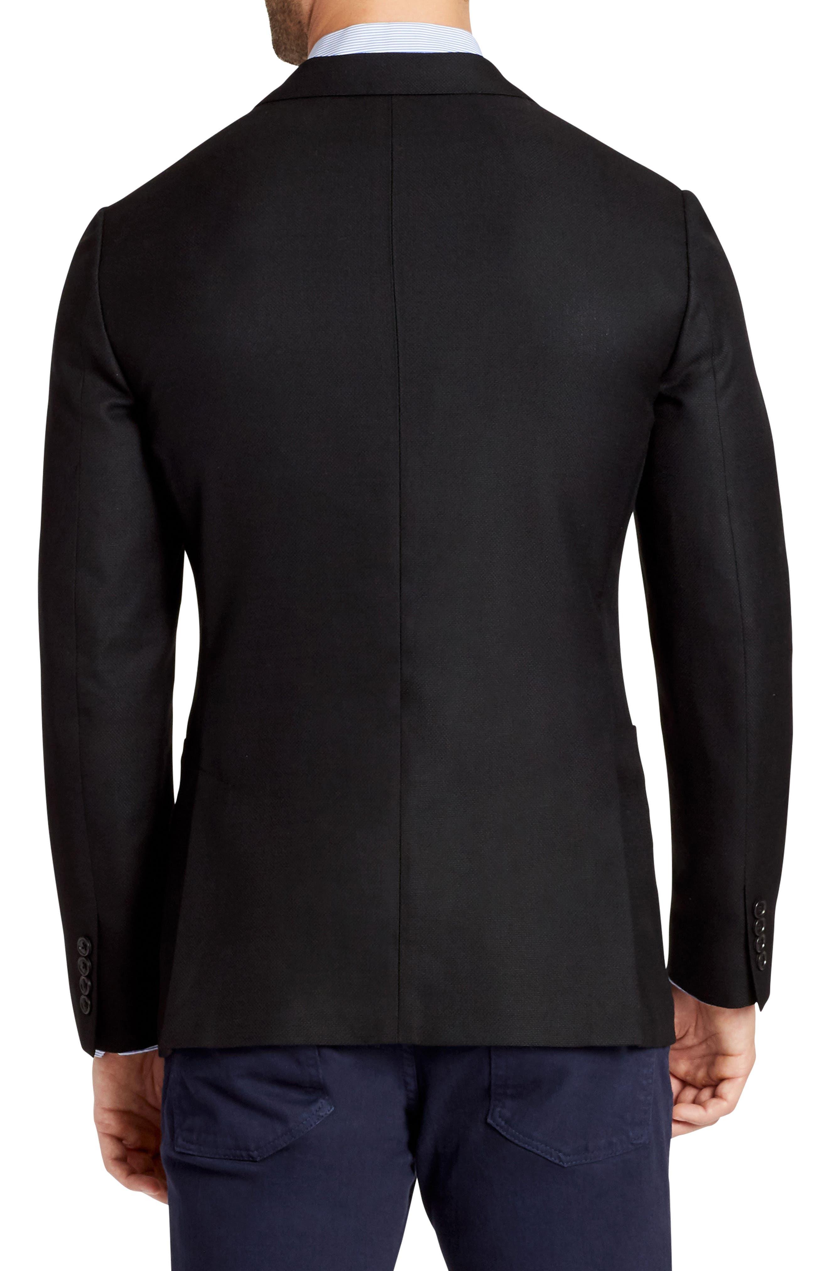 Wool Unconstructed Sport Coat,                             Alternate thumbnail 2, color,                             Black