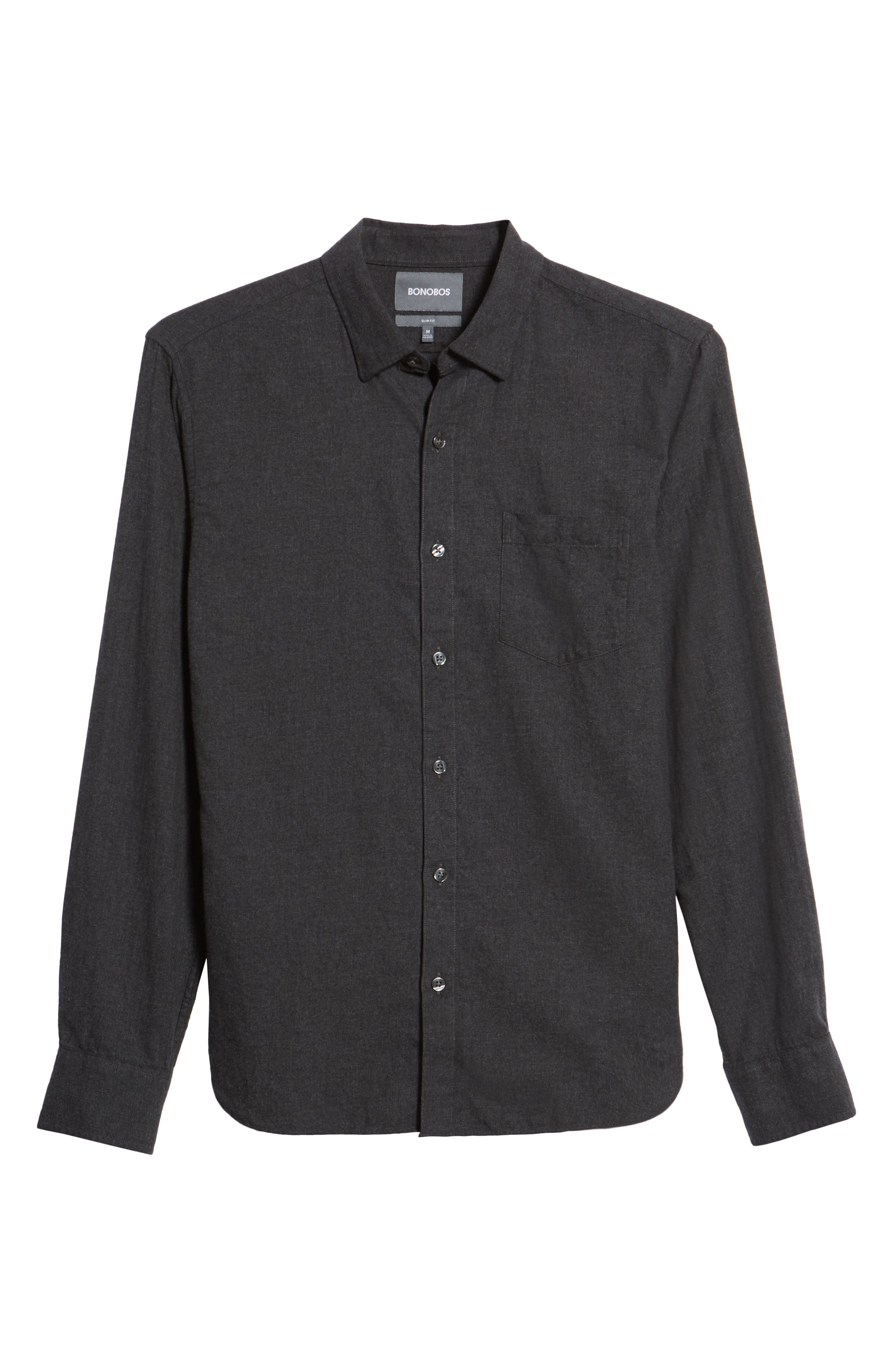 Slim Fit Brushed Twill Sport Shirt,                             Alternate thumbnail 6, color,                             Heather Charcoal