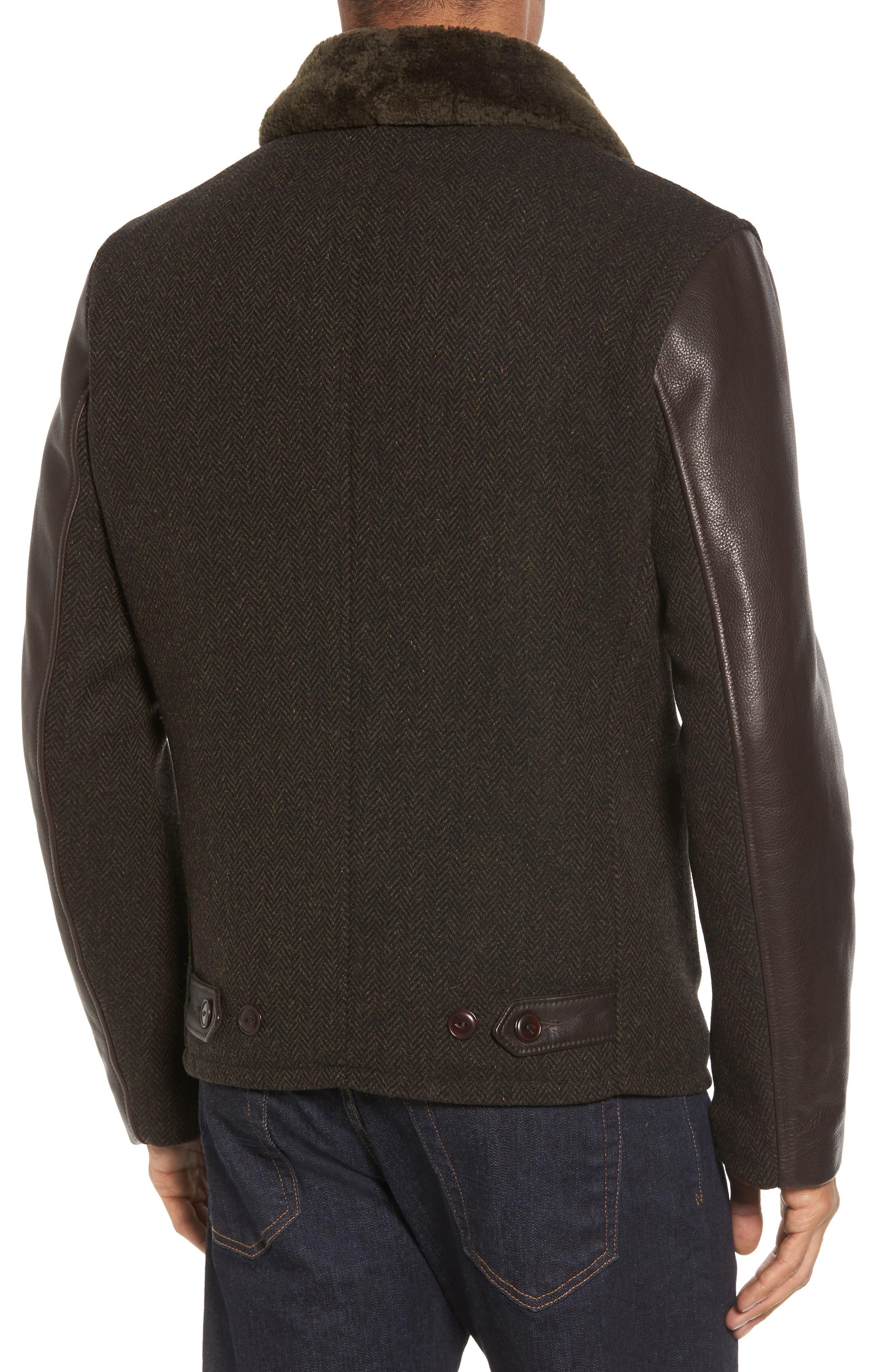 Genuine Shearling Collar N-1 Deck Jacket,                             Alternate thumbnail 2, color,                             Olive