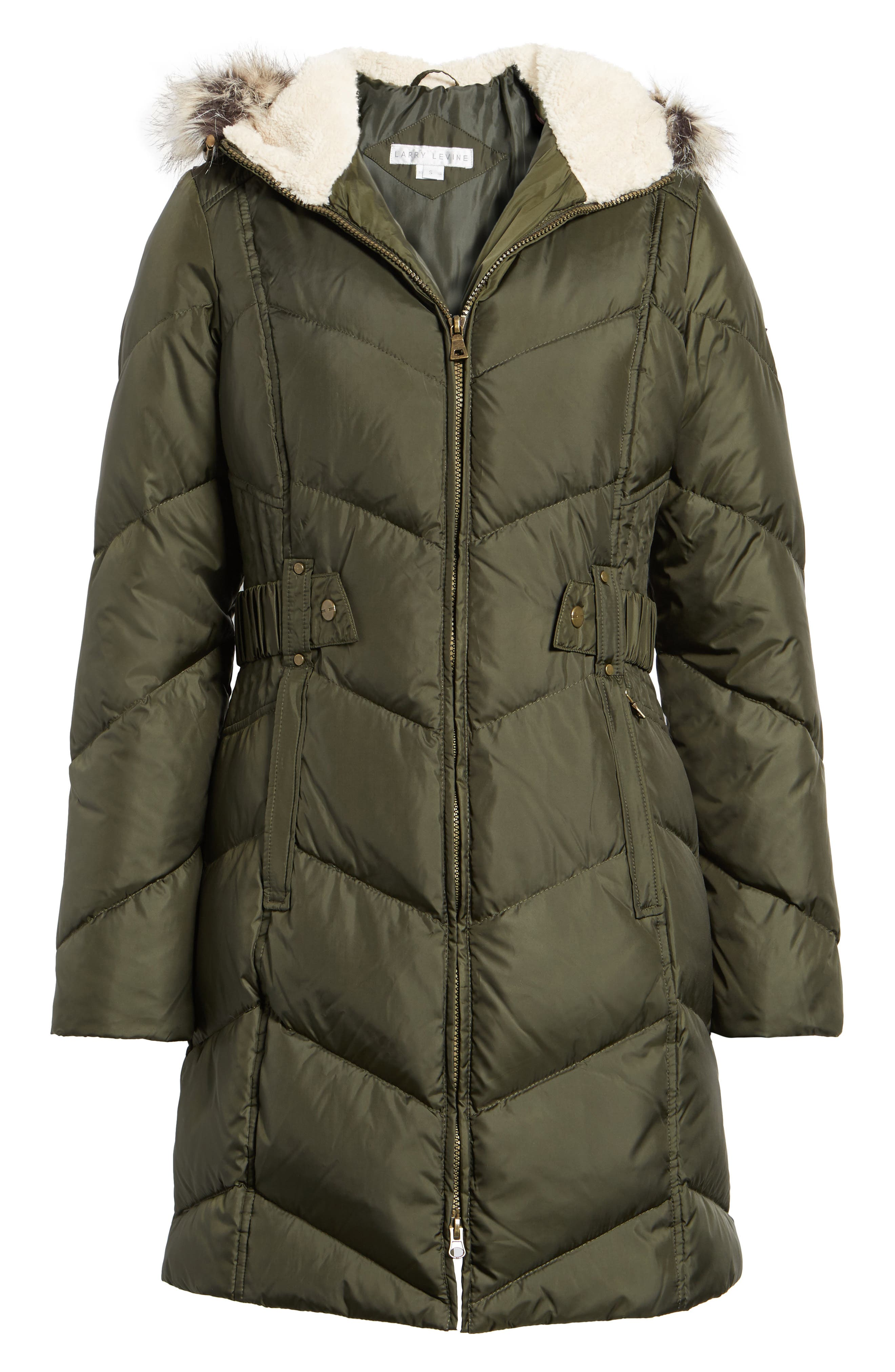 Hooded Down & Feather Fill Jacket with Faux Fur Trim,                             Alternate thumbnail 5, color,                             Loden