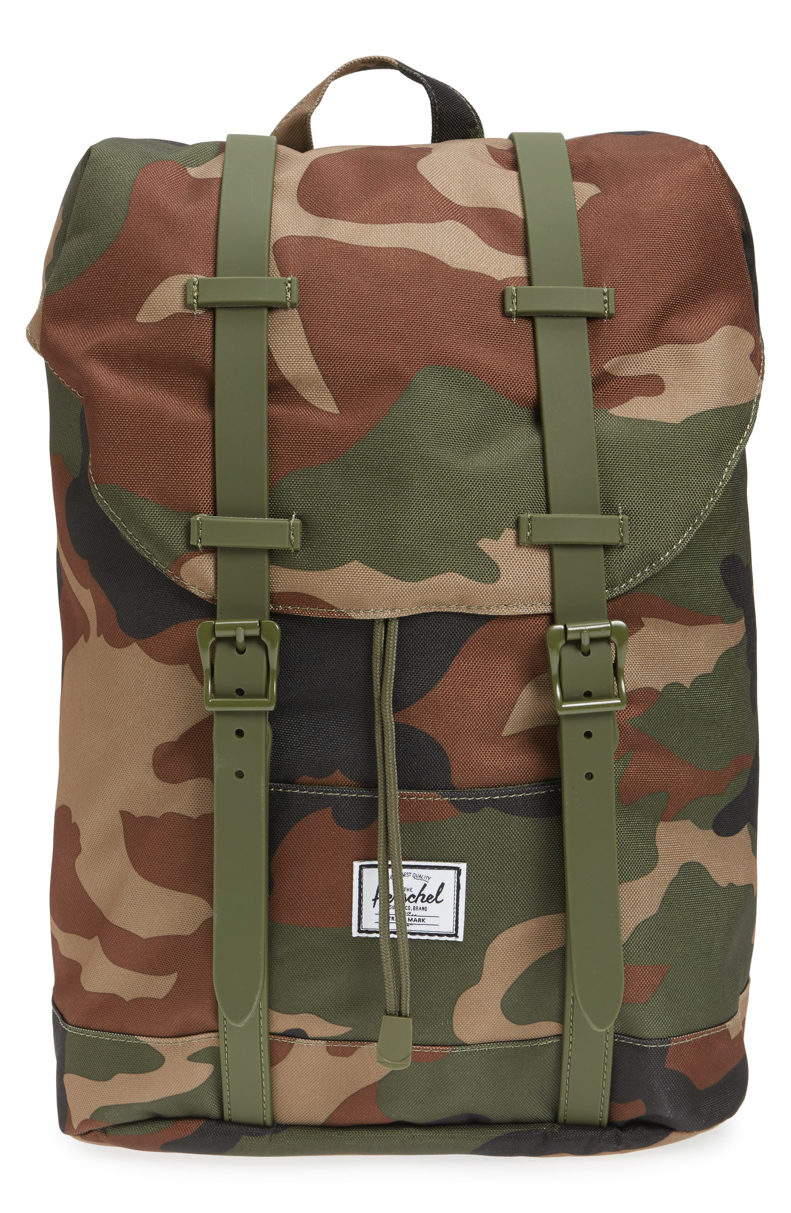 Retreat Camo Backpack,                         Main,                         color, Woodland Camo/ Army Rubber