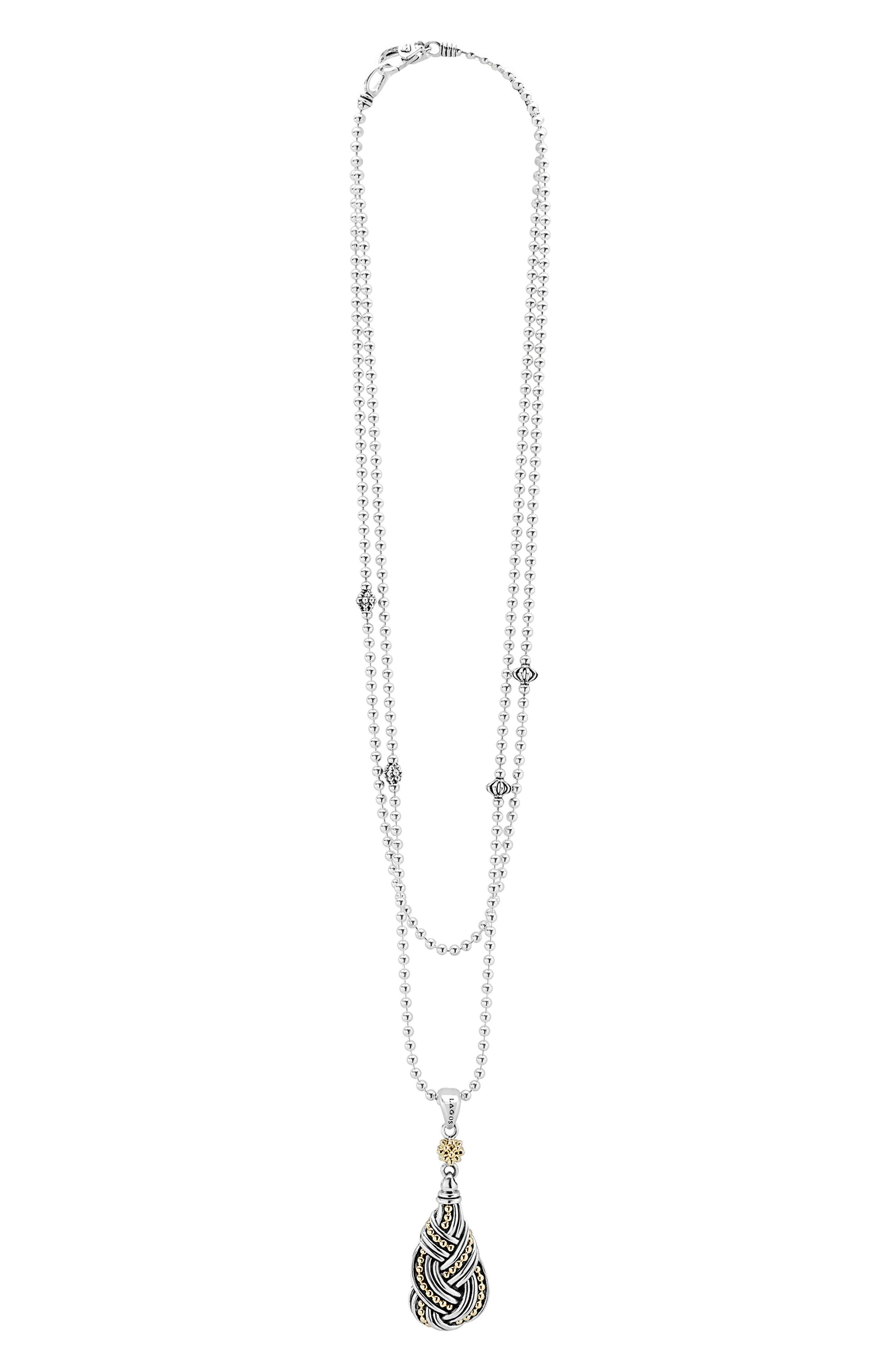 Torsade Long Pendant Necklace,                         Main,                         color, Silver/ Gold