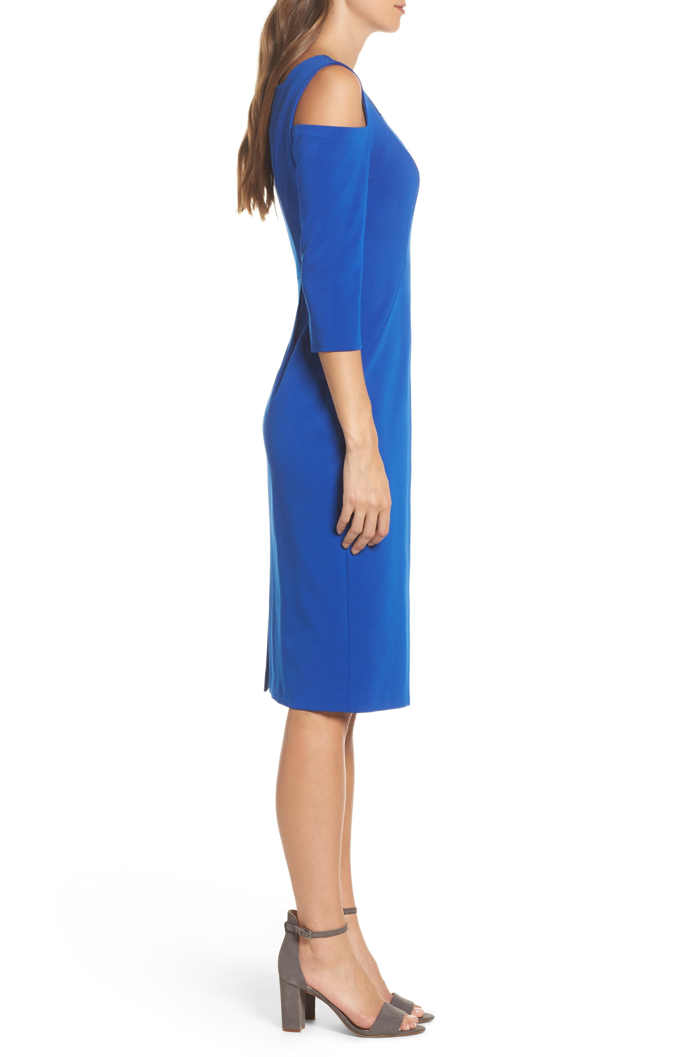 Cold Shoulder Sheath Dress,                             Alternate thumbnail 3, color,                             Cobalt