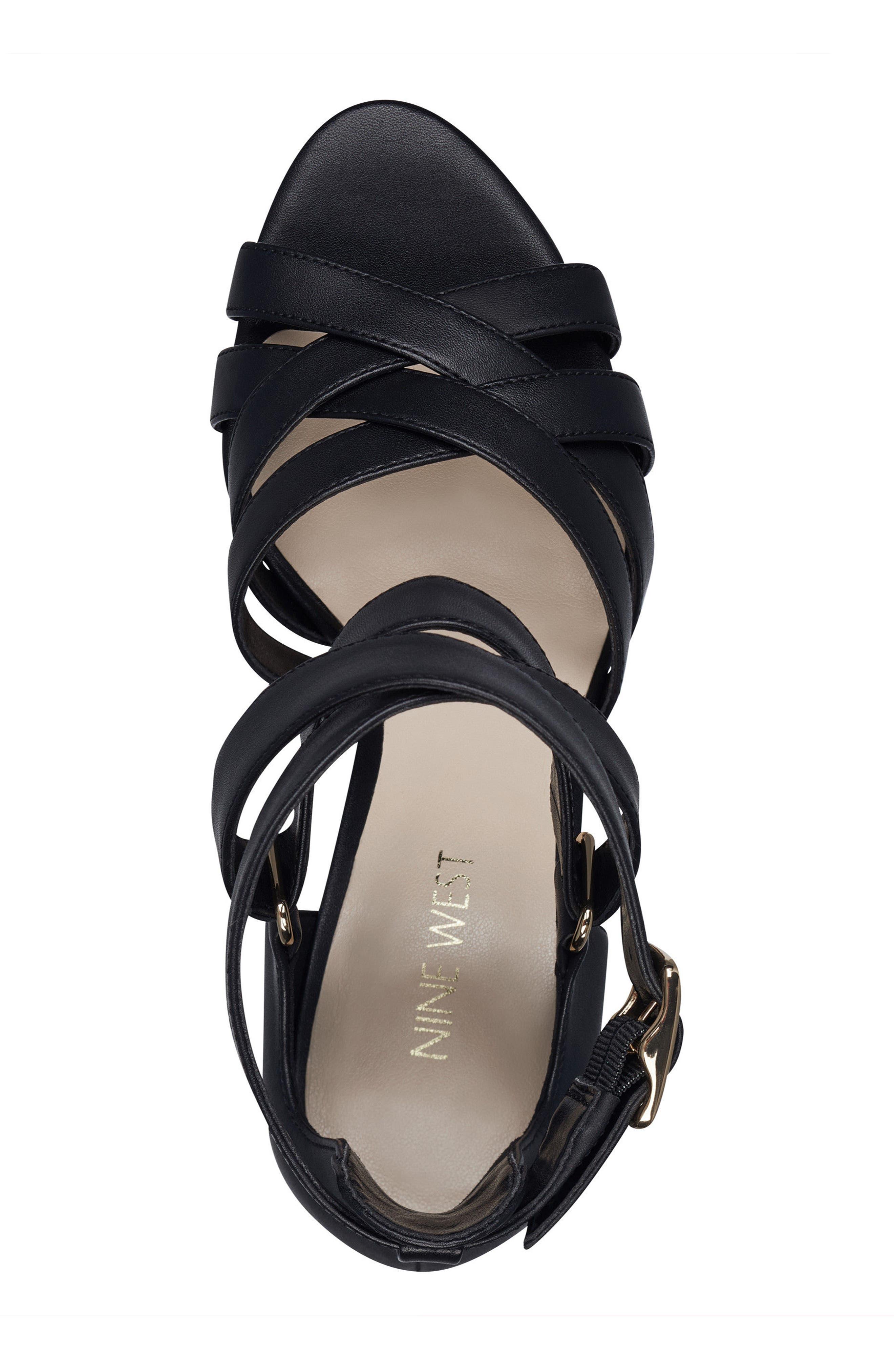 McGlynn Strappy Sandal,                             Alternate thumbnail 5, color,                             Black Leather