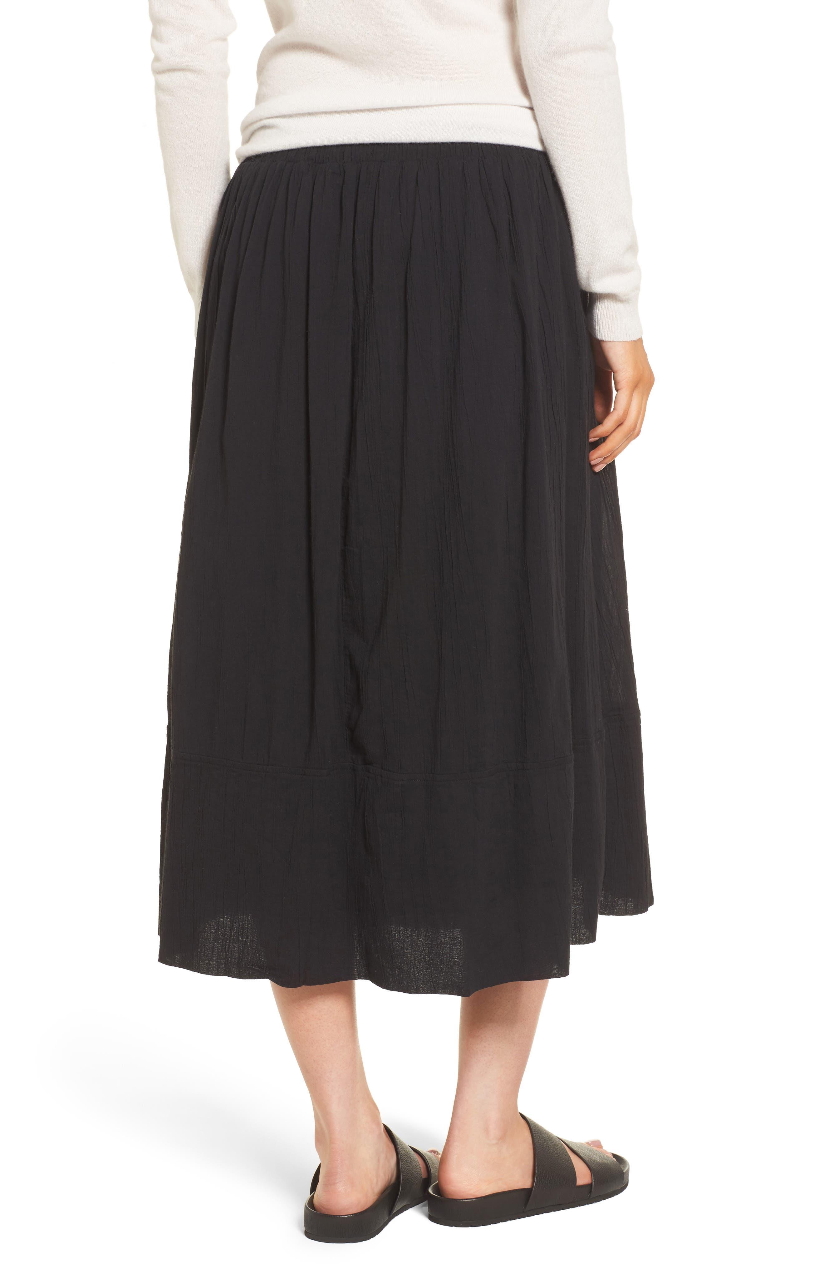 Gauze Midi Skirt,                             Alternate thumbnail 2, color,                             Black
