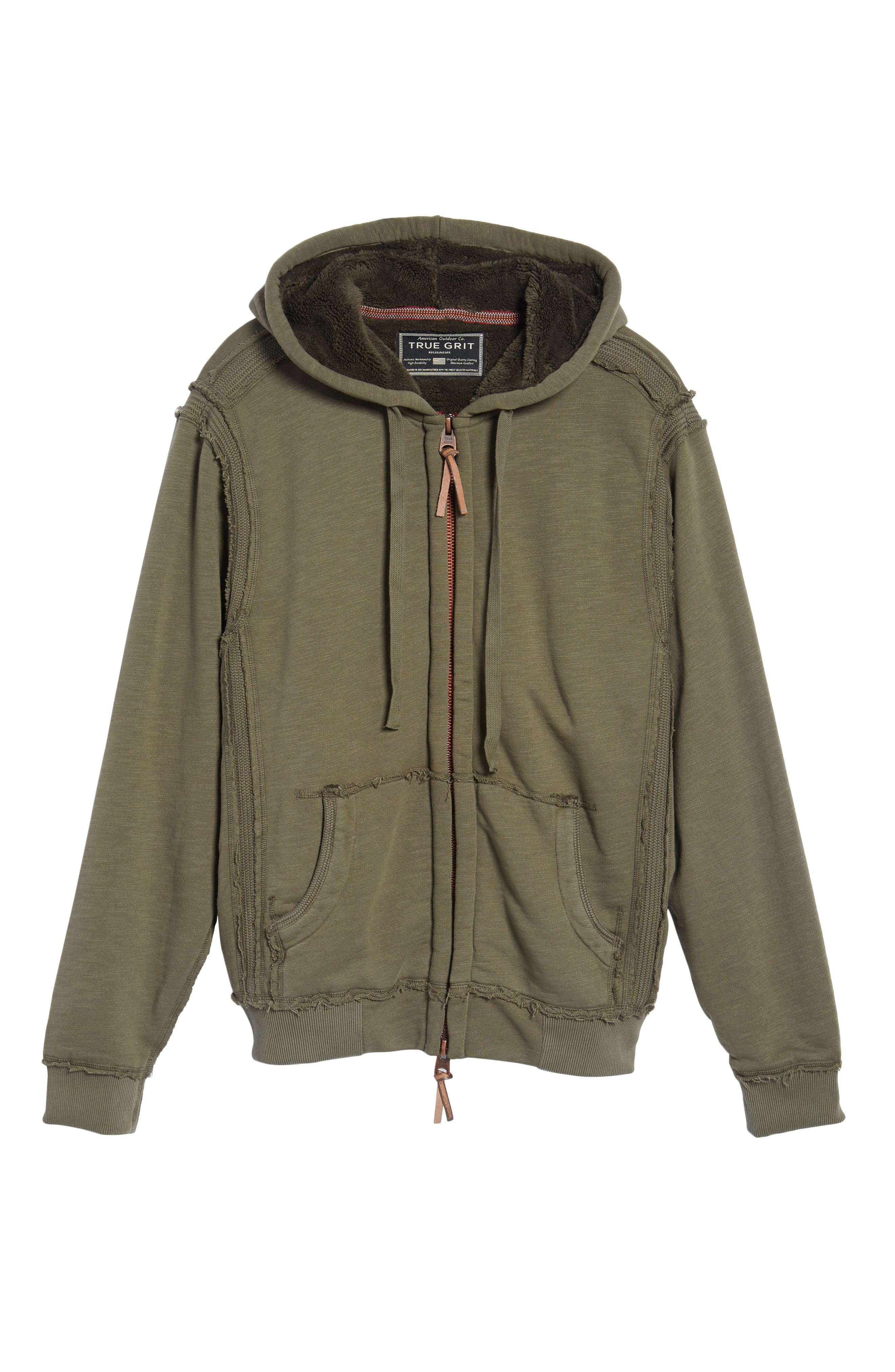 Frosty Pile Zip Front Hoodie,                             Alternate thumbnail 6, color,                             Vintage Olive