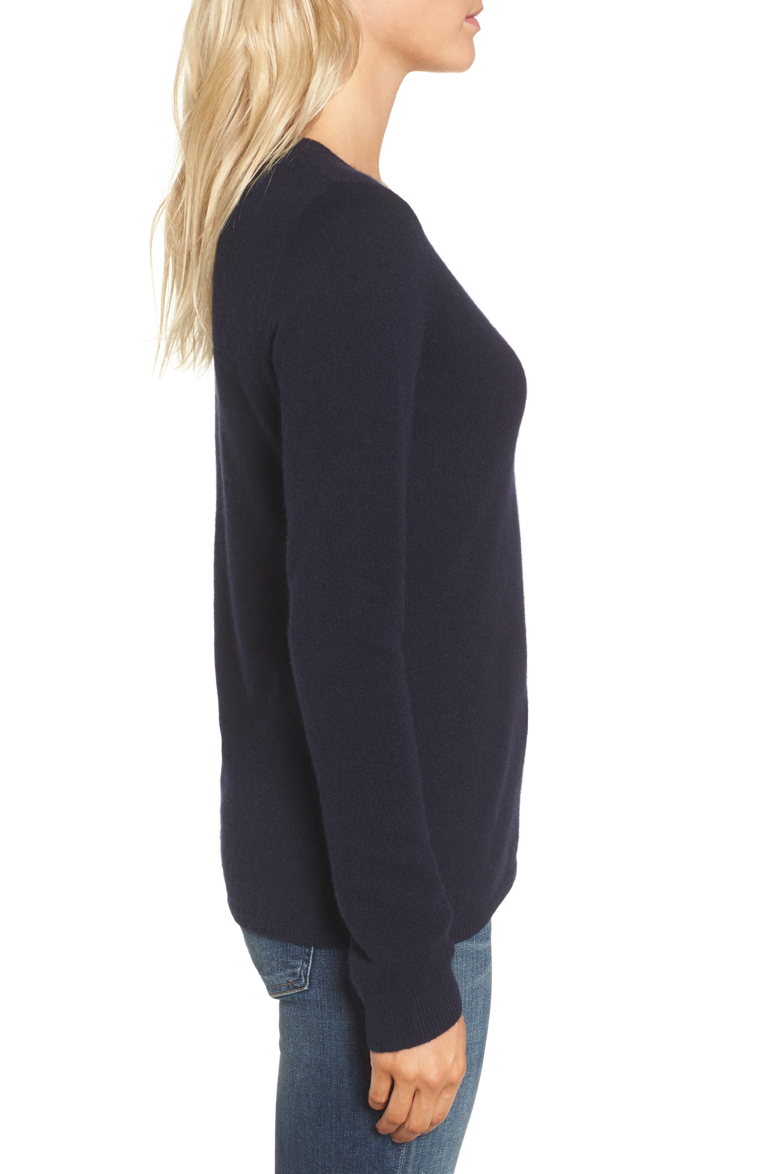Cashmere V-Neck Sweater,                             Alternate thumbnail 4, color,                             French Navy