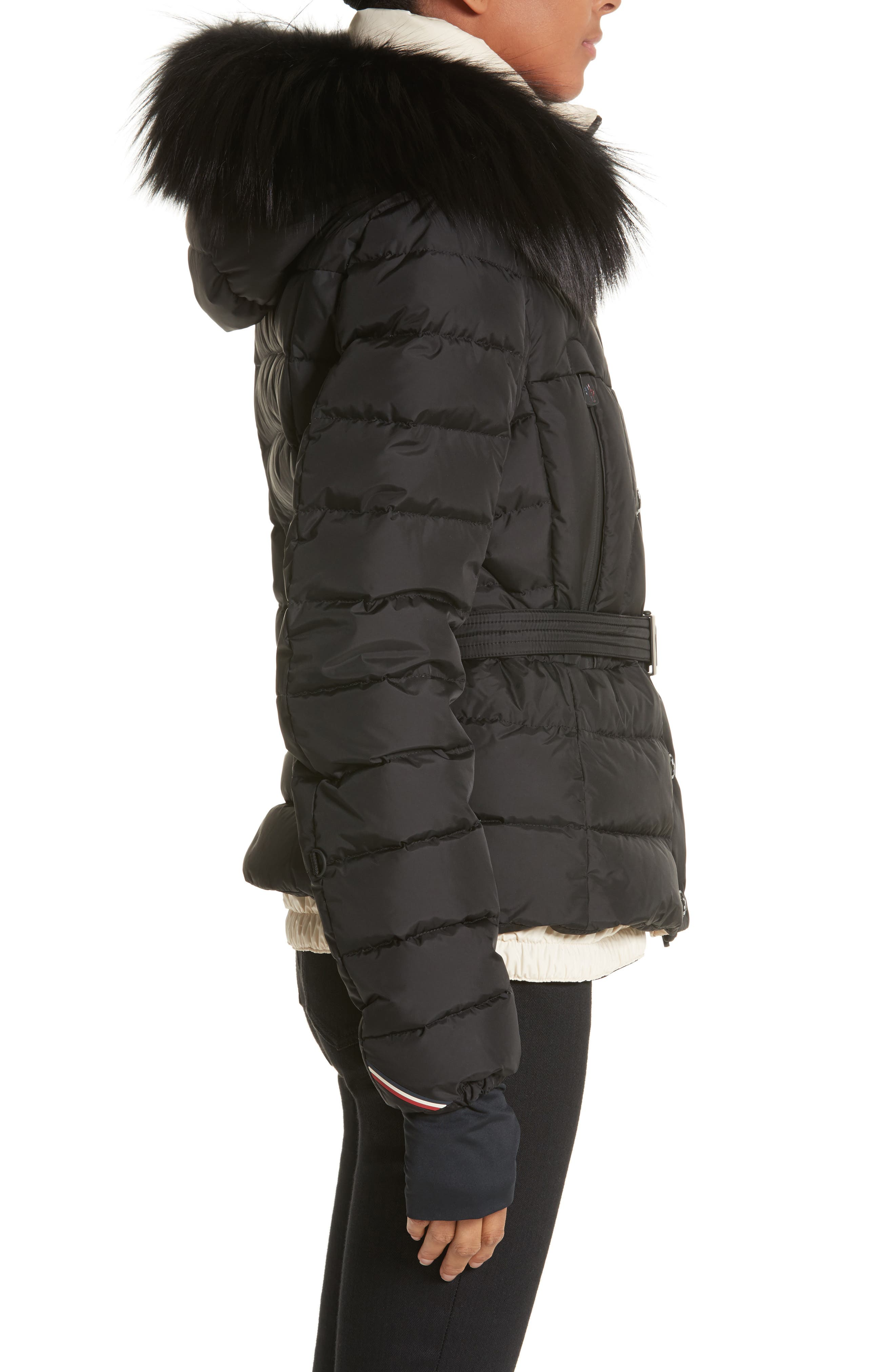 Beverley Quilted Down Jacket with Removable Genuine Fox Fur Trim,                             Alternate thumbnail 4, color,                             Black