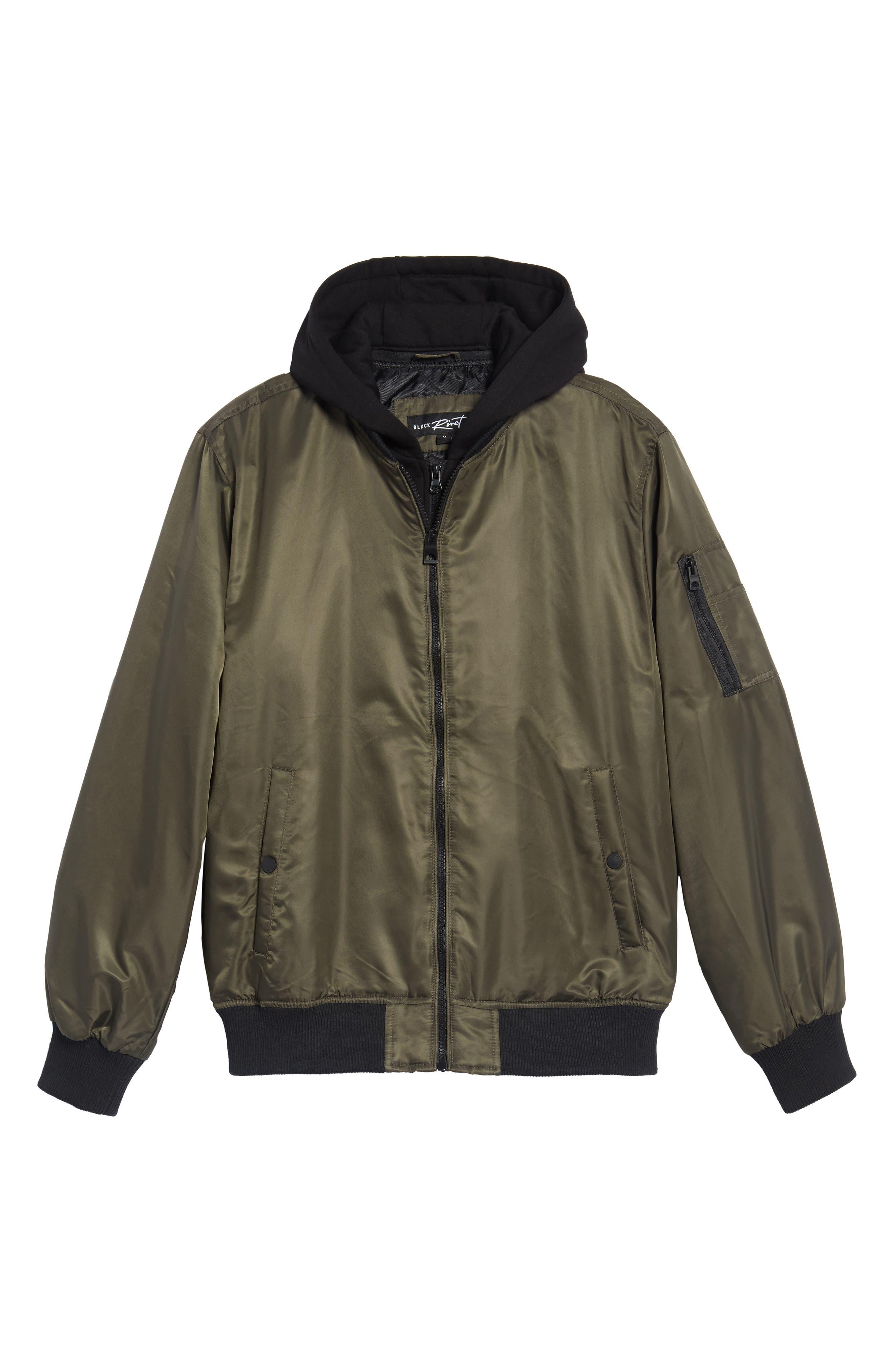 Water Resistant Hooded Satin Flight Jacket,                         Main,                         color, Olive