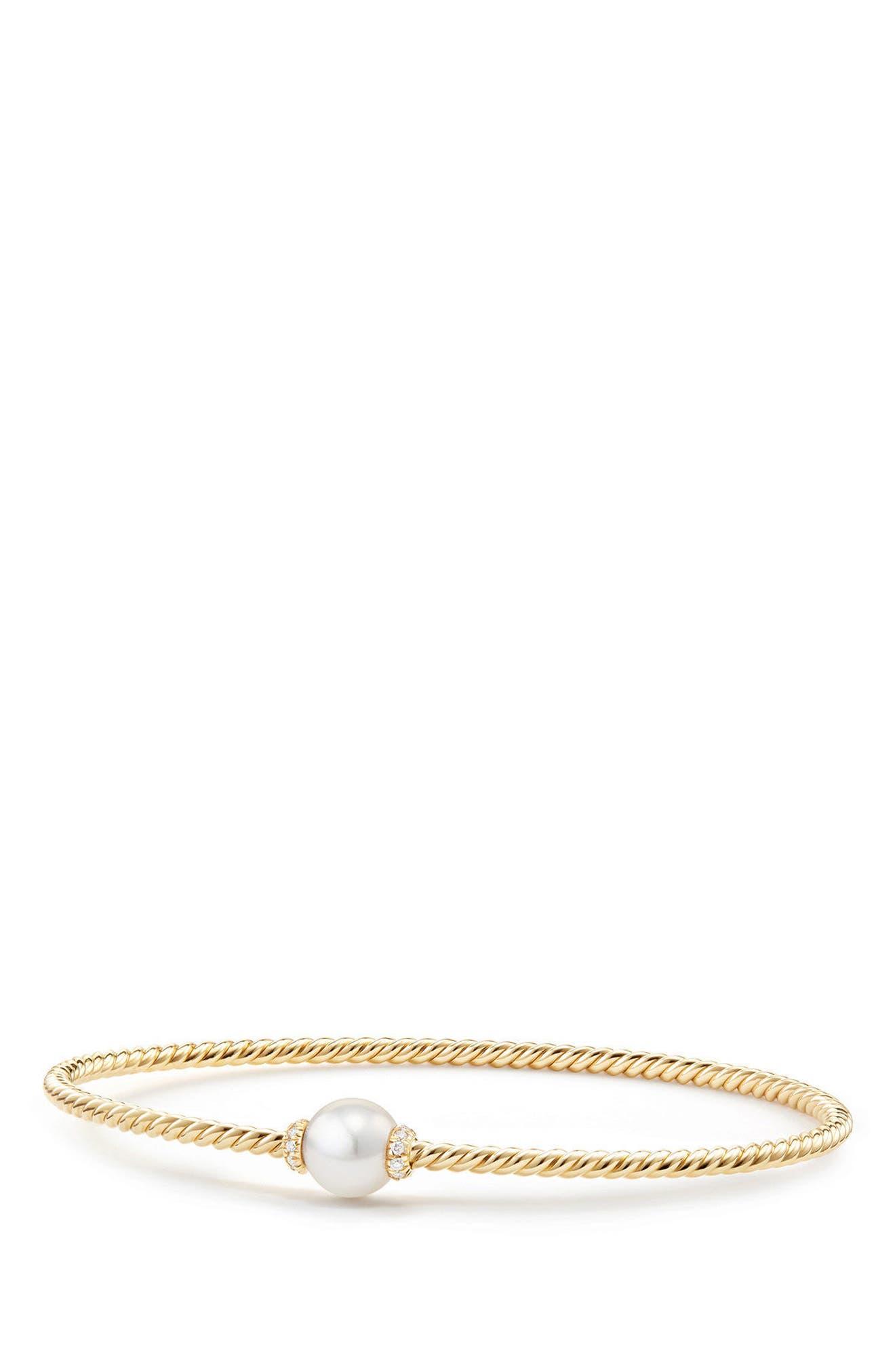 David Yurman Solari Station Bracelet with Cultured Pearl & Diamonds in 18K Gold