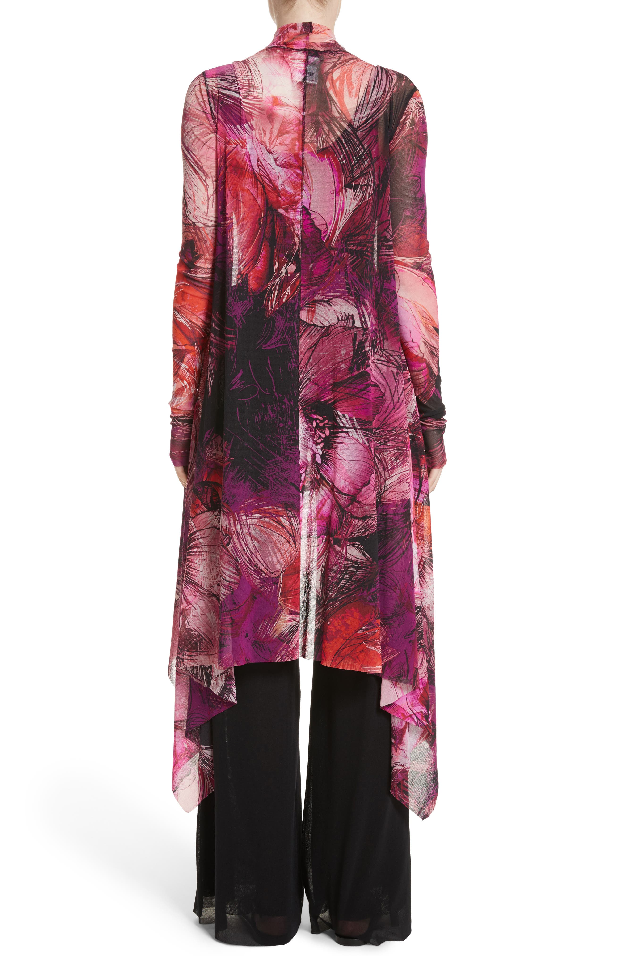 Print Tulle Waterfall Hem Cardigan,                             Alternate thumbnail 2, color,                             Pink/Purple