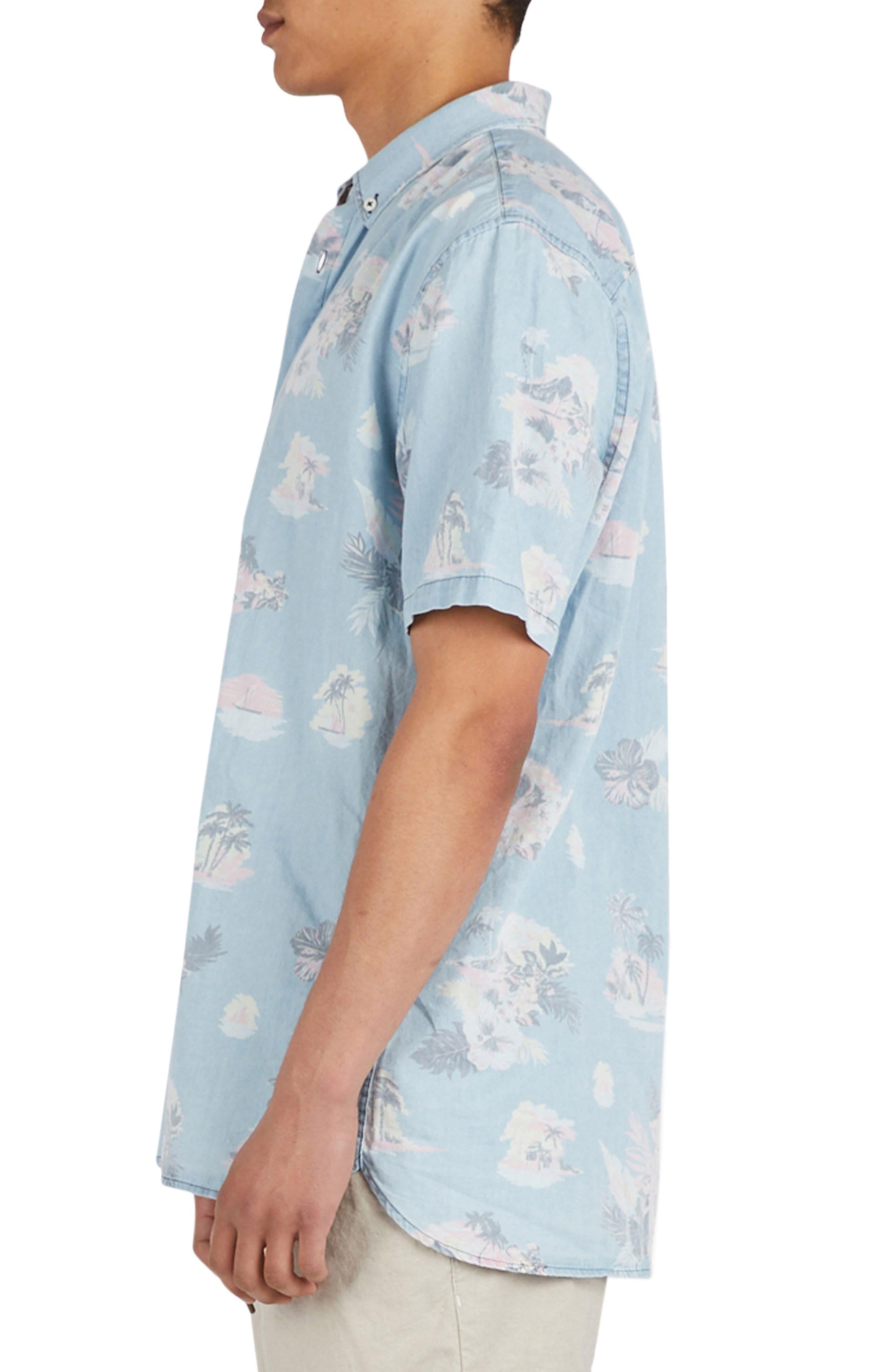 Tropical Print Woven Shirt,                             Alternate thumbnail 4, color,                             Indigo/ Floral