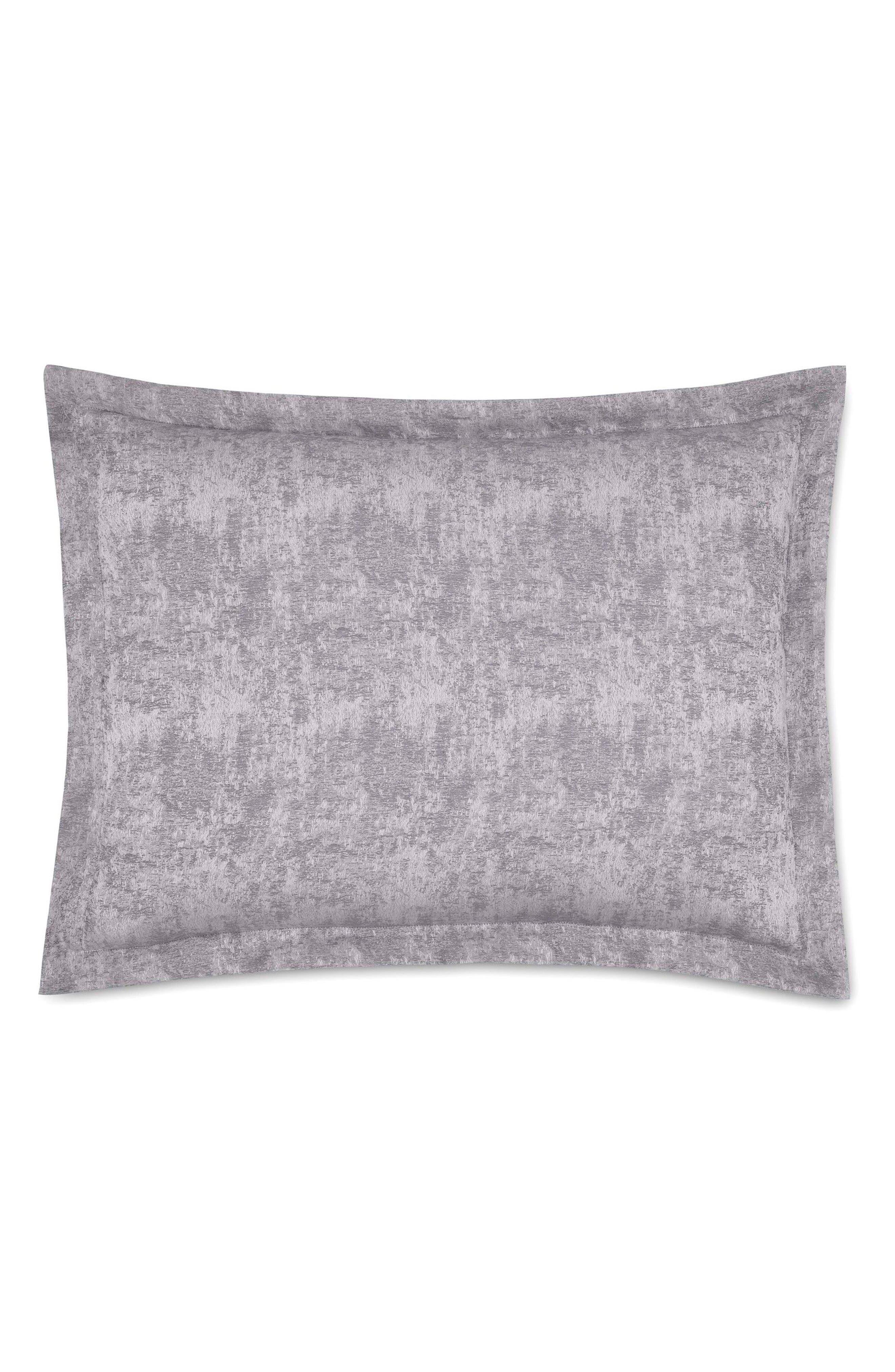 The Flaneur Organic Cotton Jacquard Sham,                             Main thumbnail 1, color,                             Fog Grey