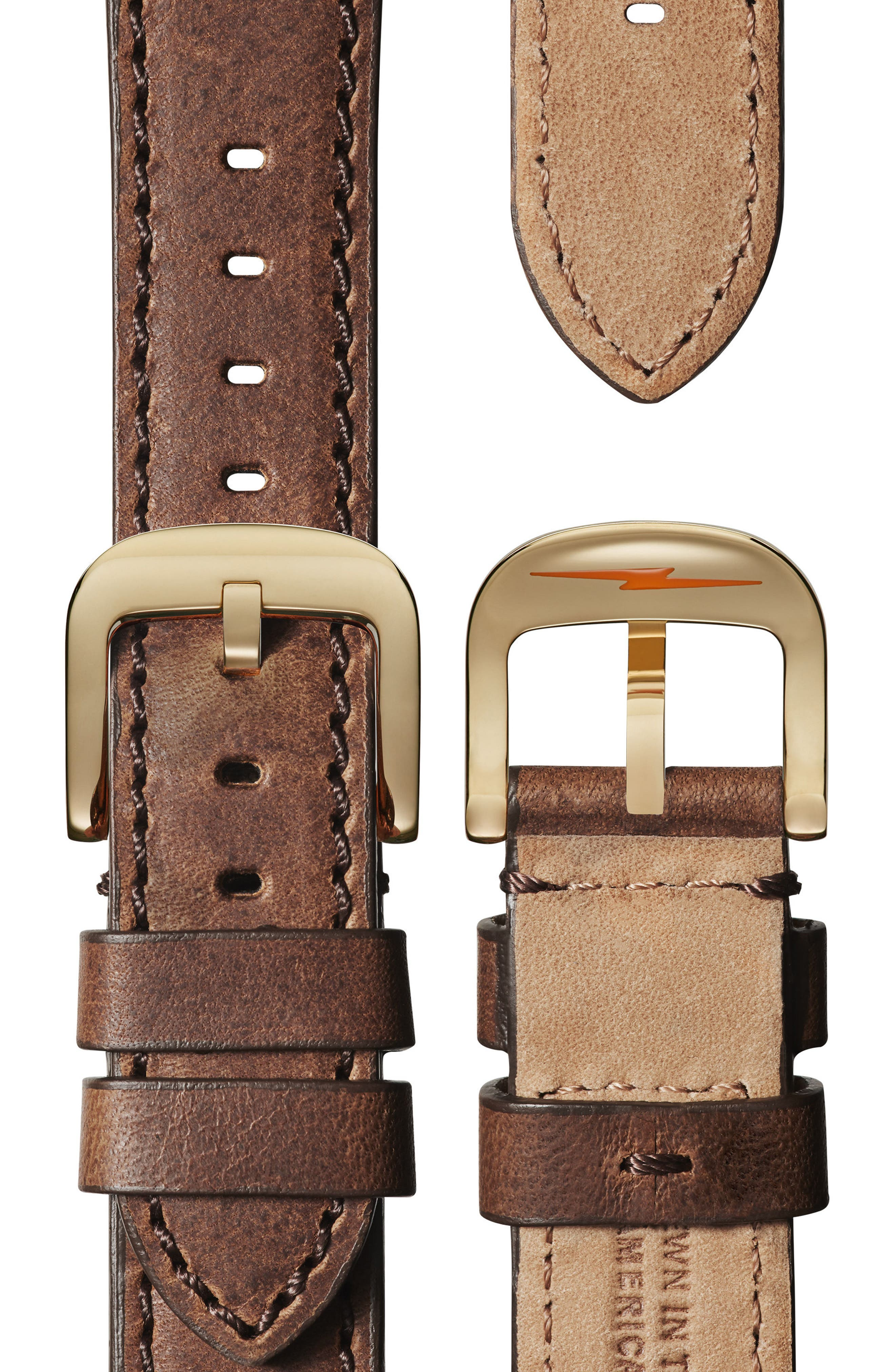 The Runwell Leather Strap Watch, 41mm,                             Alternate thumbnail 3, color,                             Brown/ Beige/ Gold