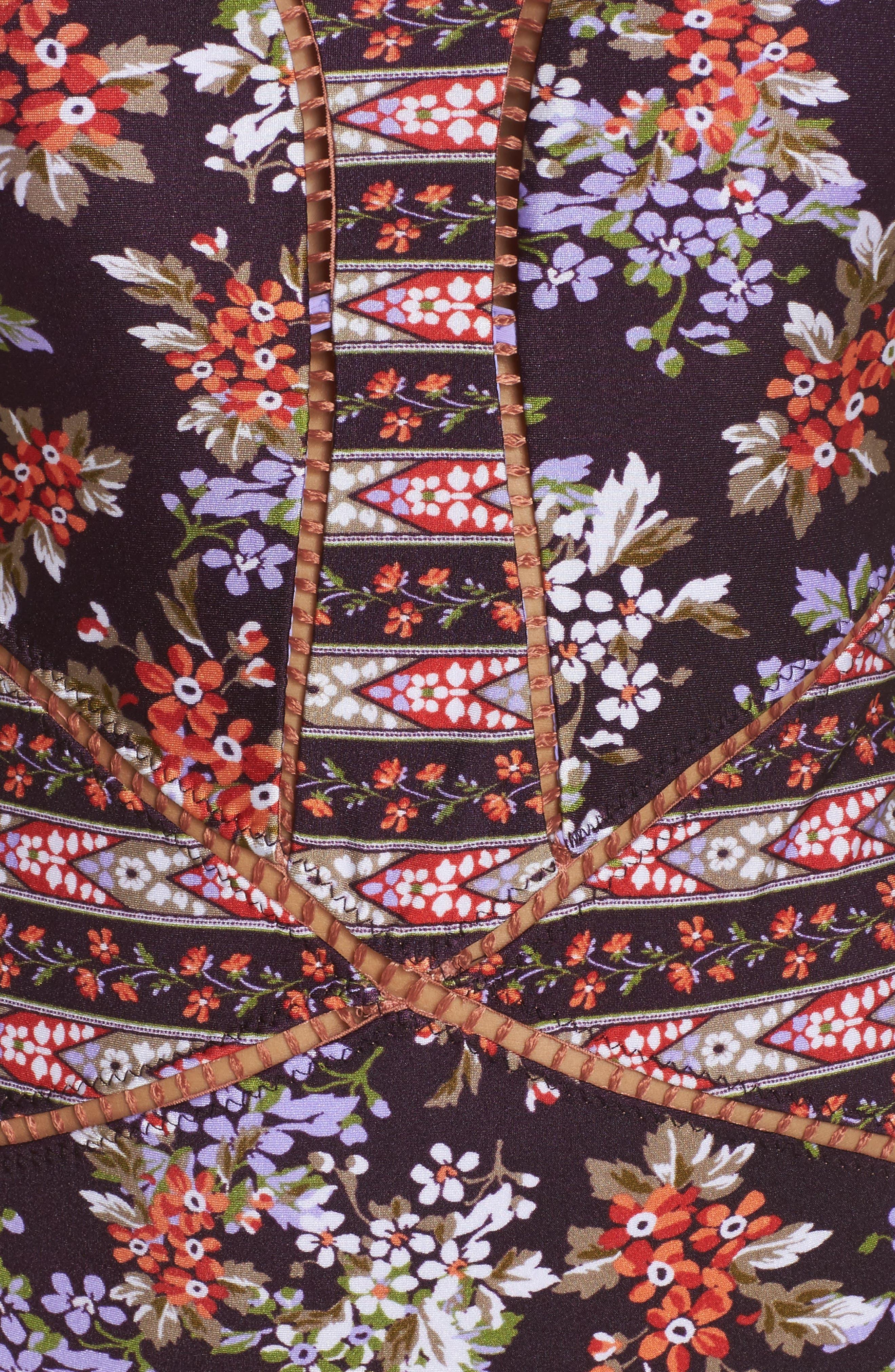 Floral Cottage One-Piece Swimsuit,                             Alternate thumbnail 5, color,                             Plum