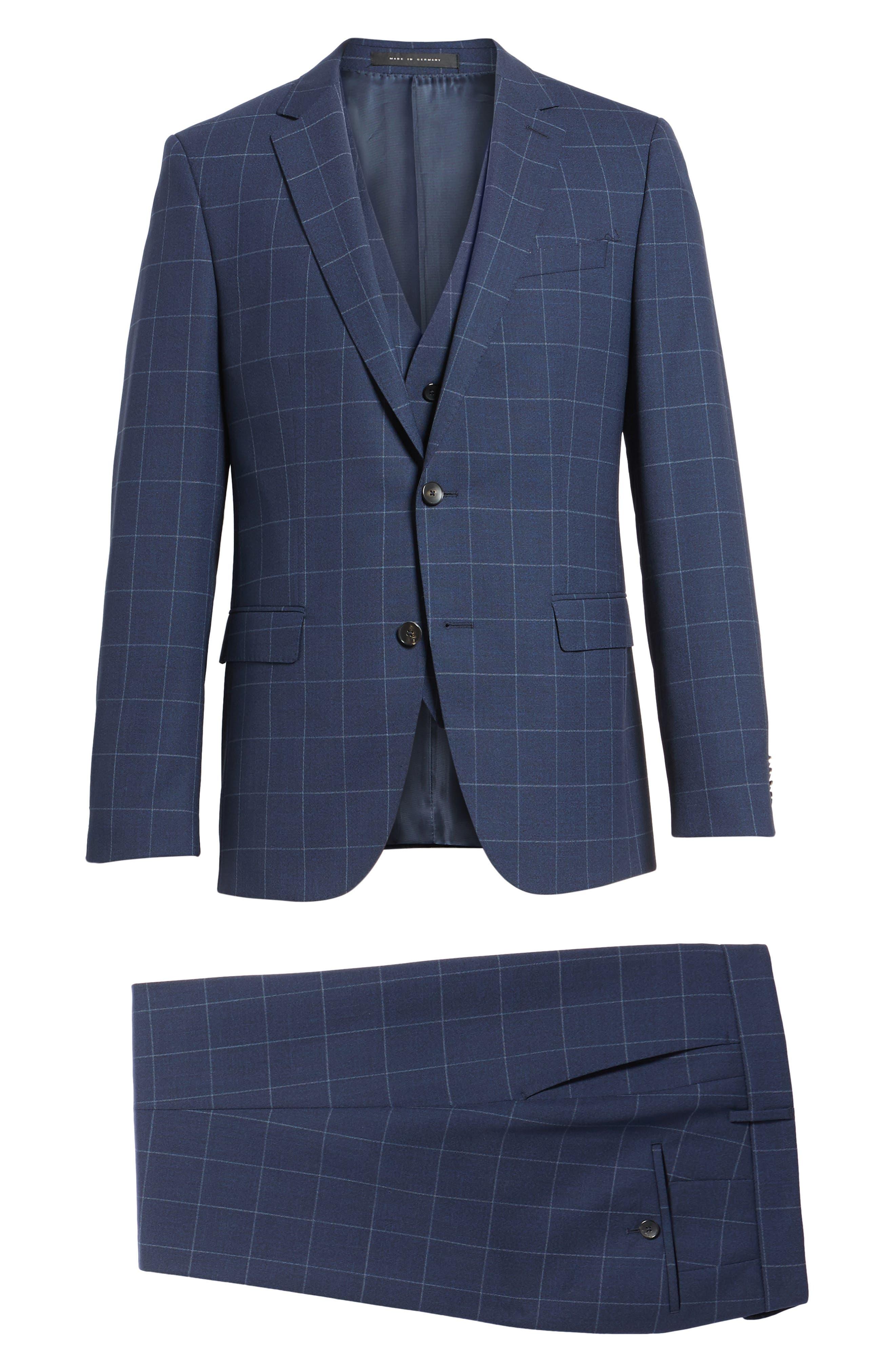 Huge/Genius Trim Fit Three Piece Windowpane Wool Suit,                             Alternate thumbnail 9, color,                             Navy