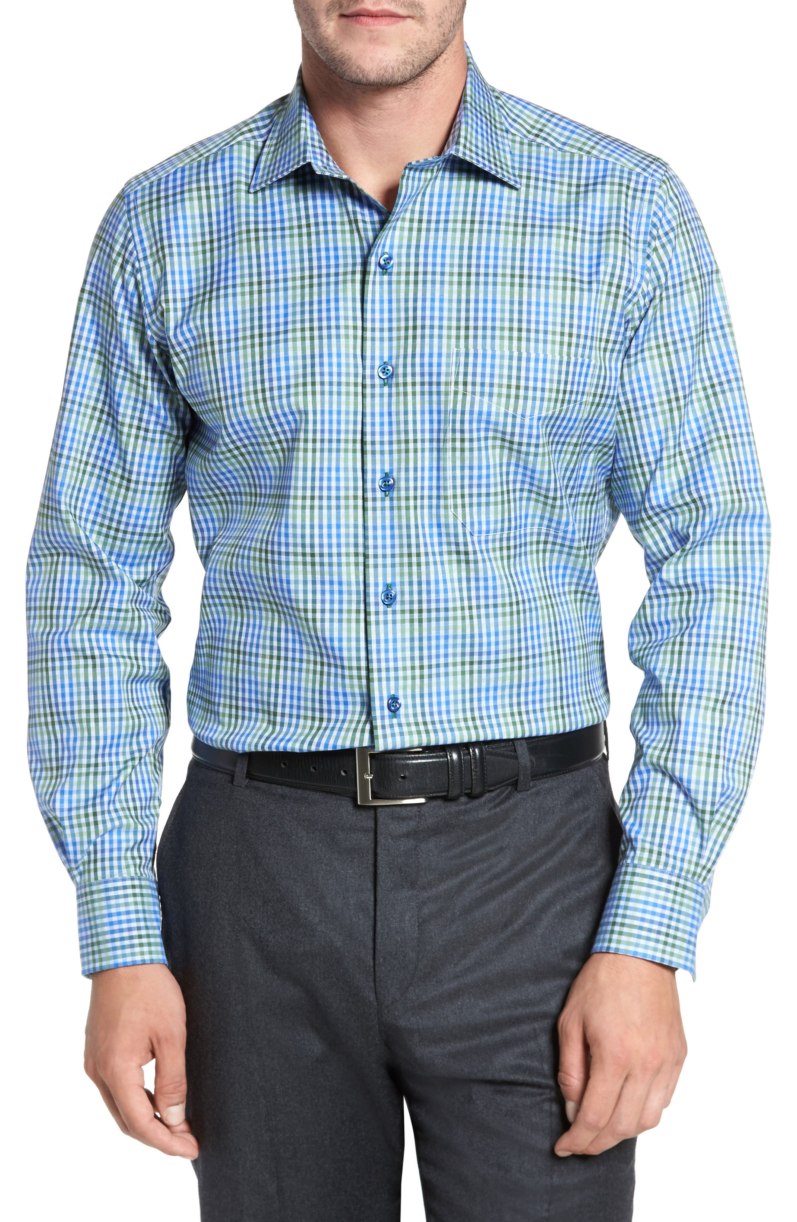 Check Sport Shirt,                         Main,                         color, Olive