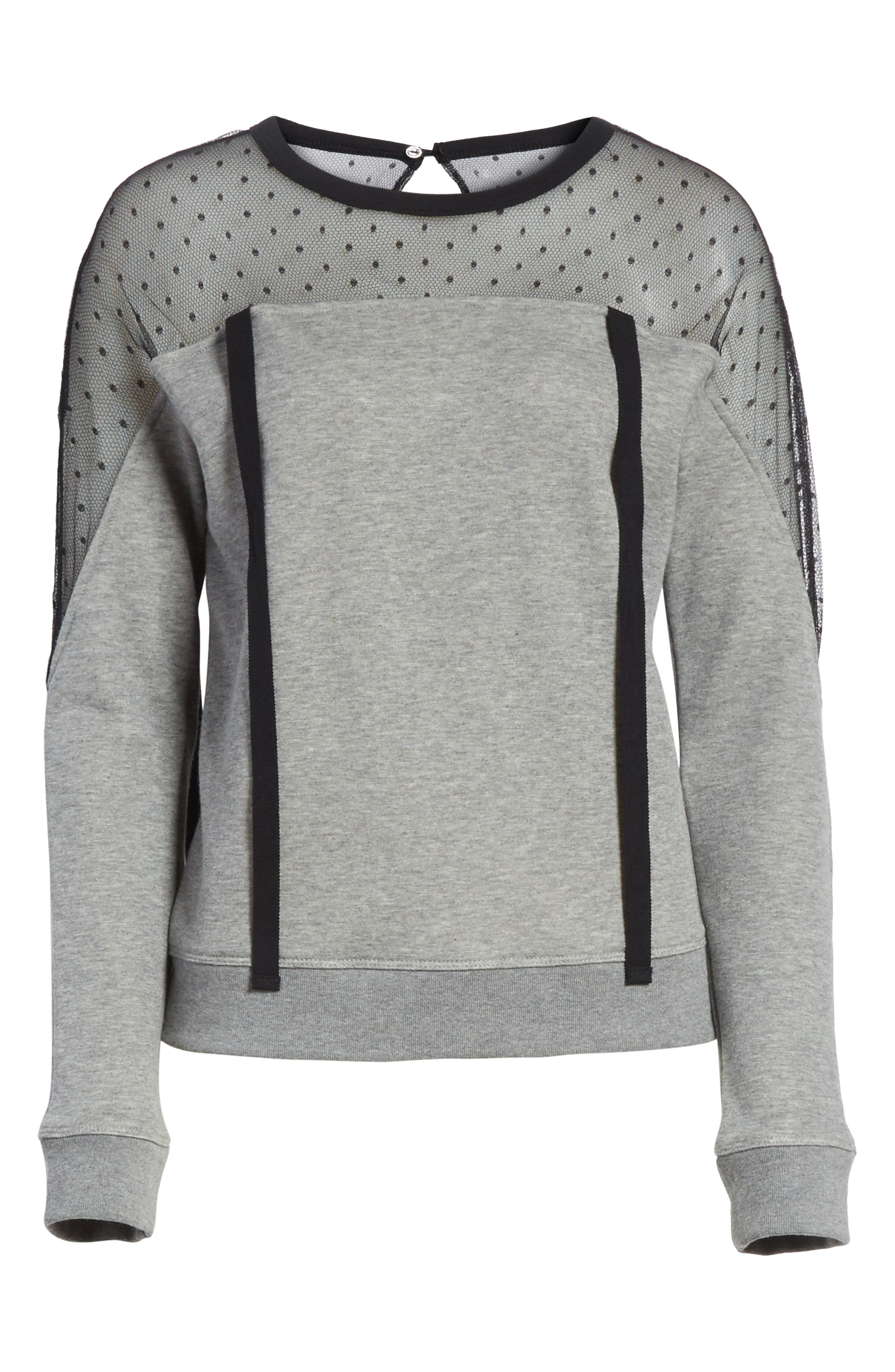Point D'esprit Sweatshirt,                             Alternate thumbnail 6, color,                             Grey