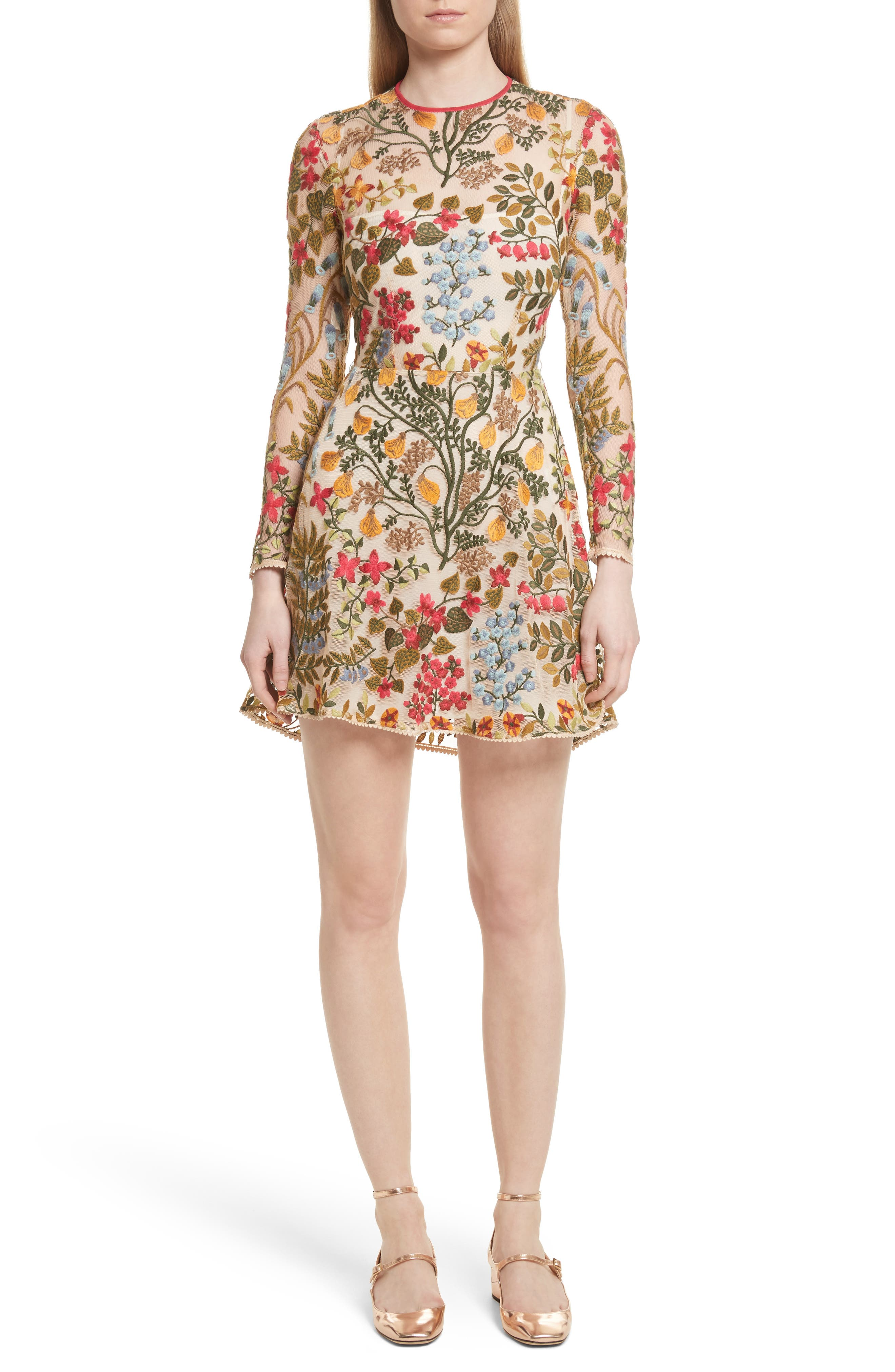Floral Vine Embroidered Tulle Dress,                         Main,                         color, Cream