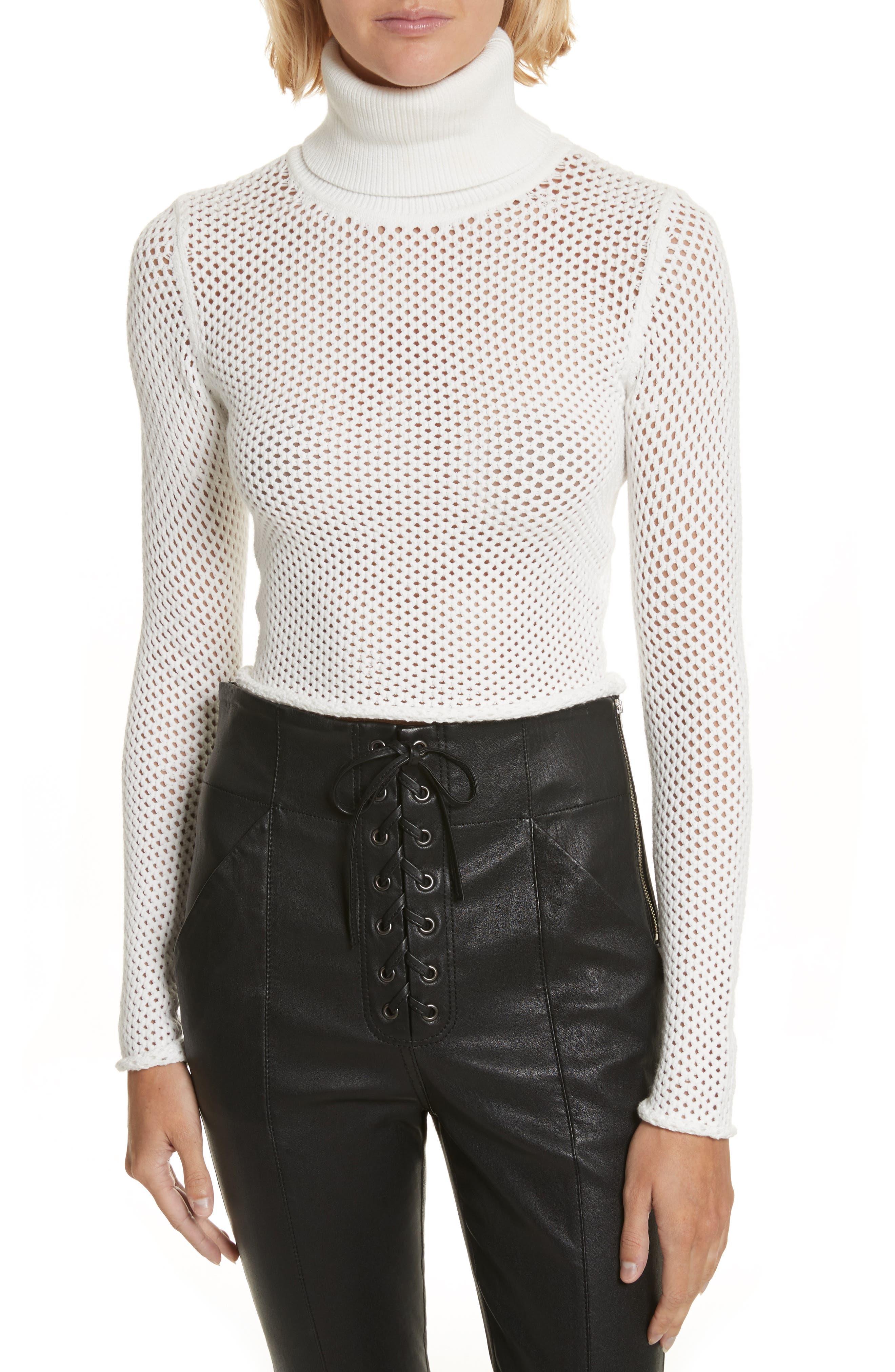 Jones Fishnet Sweater,                             Main thumbnail 1, color,                             White