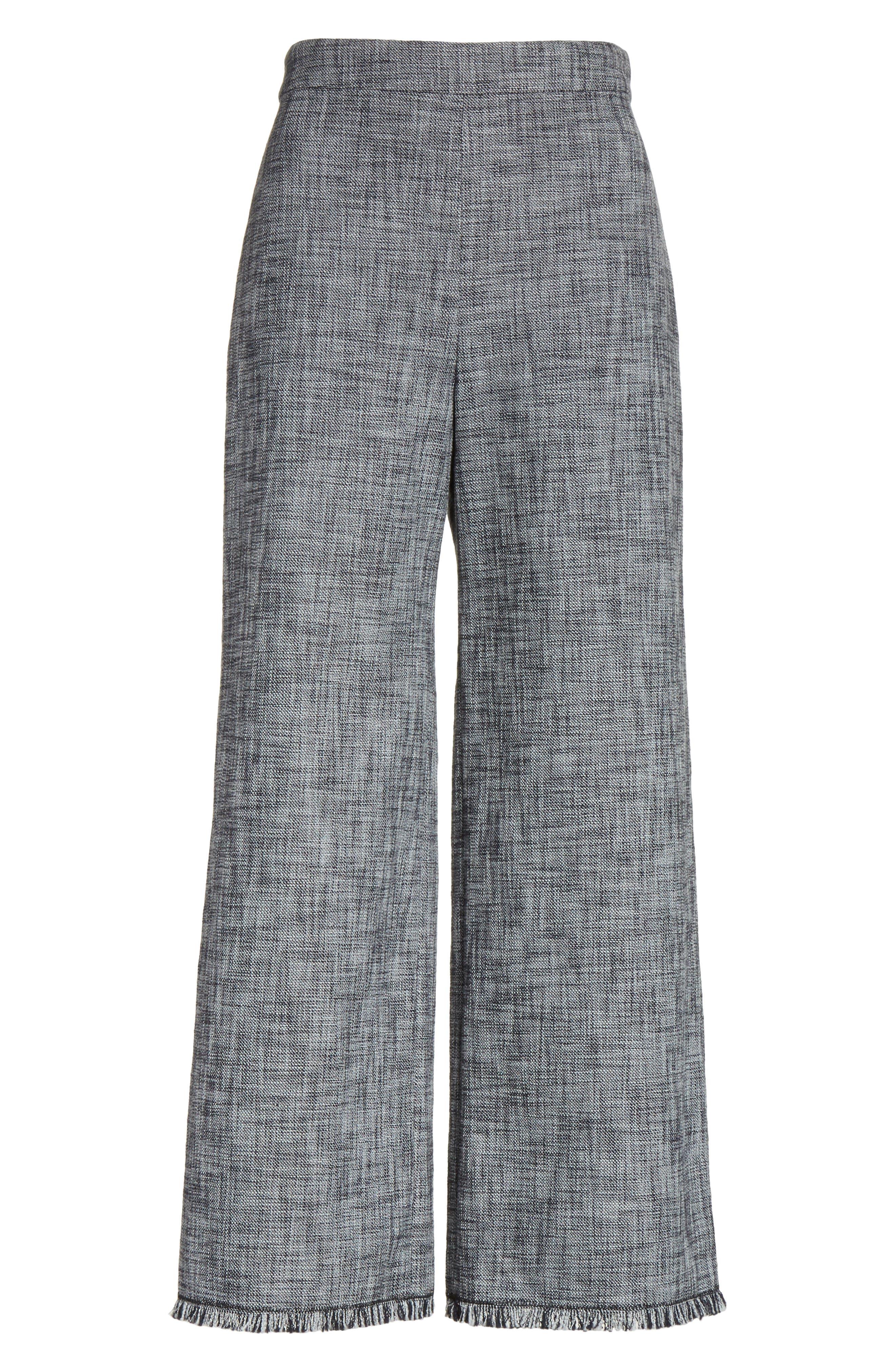 Slub Crop Suit Pants,                             Alternate thumbnail 6, color,                             Grey/ Black Combo