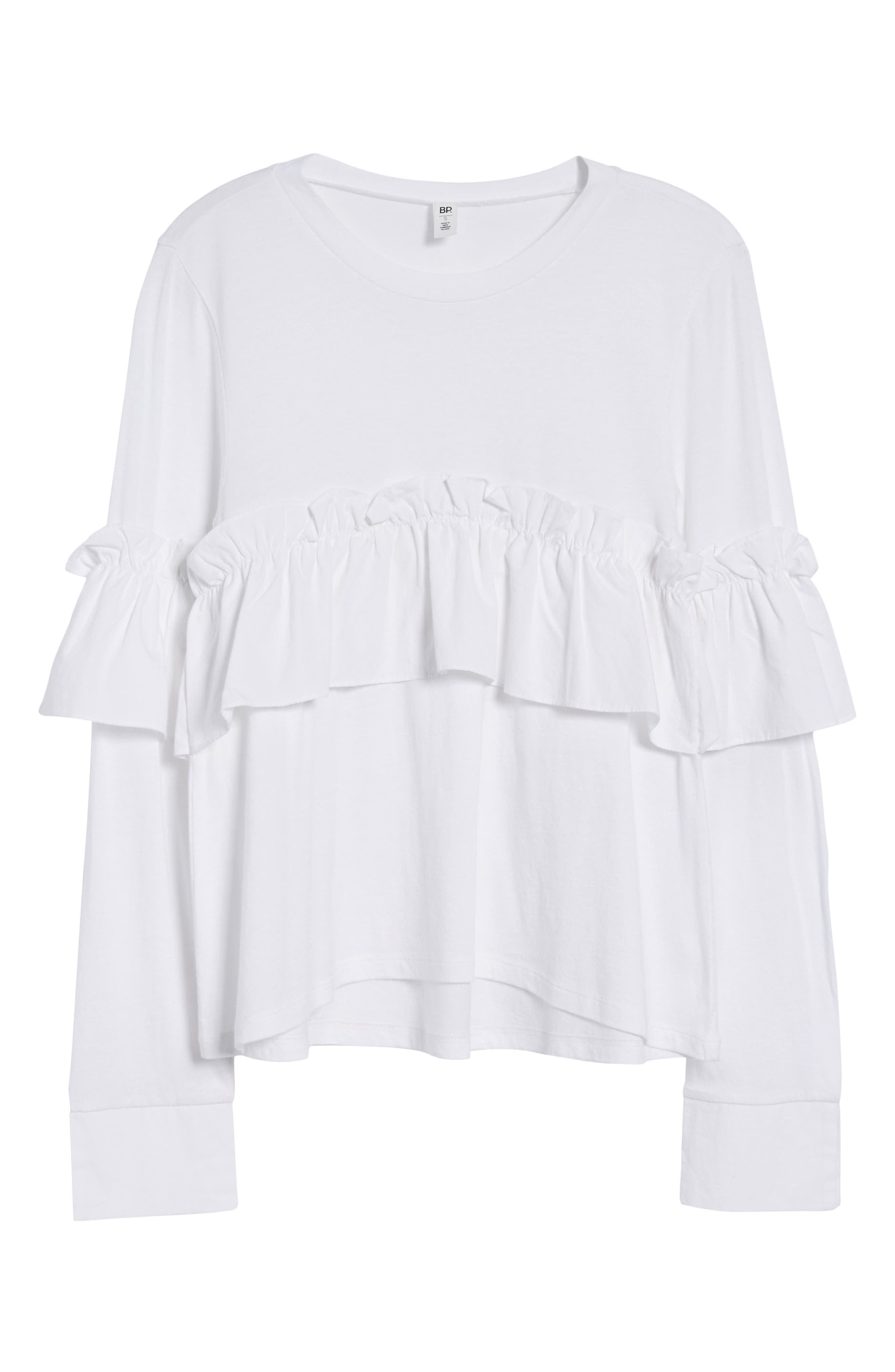 Ruffle Tee,                             Alternate thumbnail 6, color,                             White