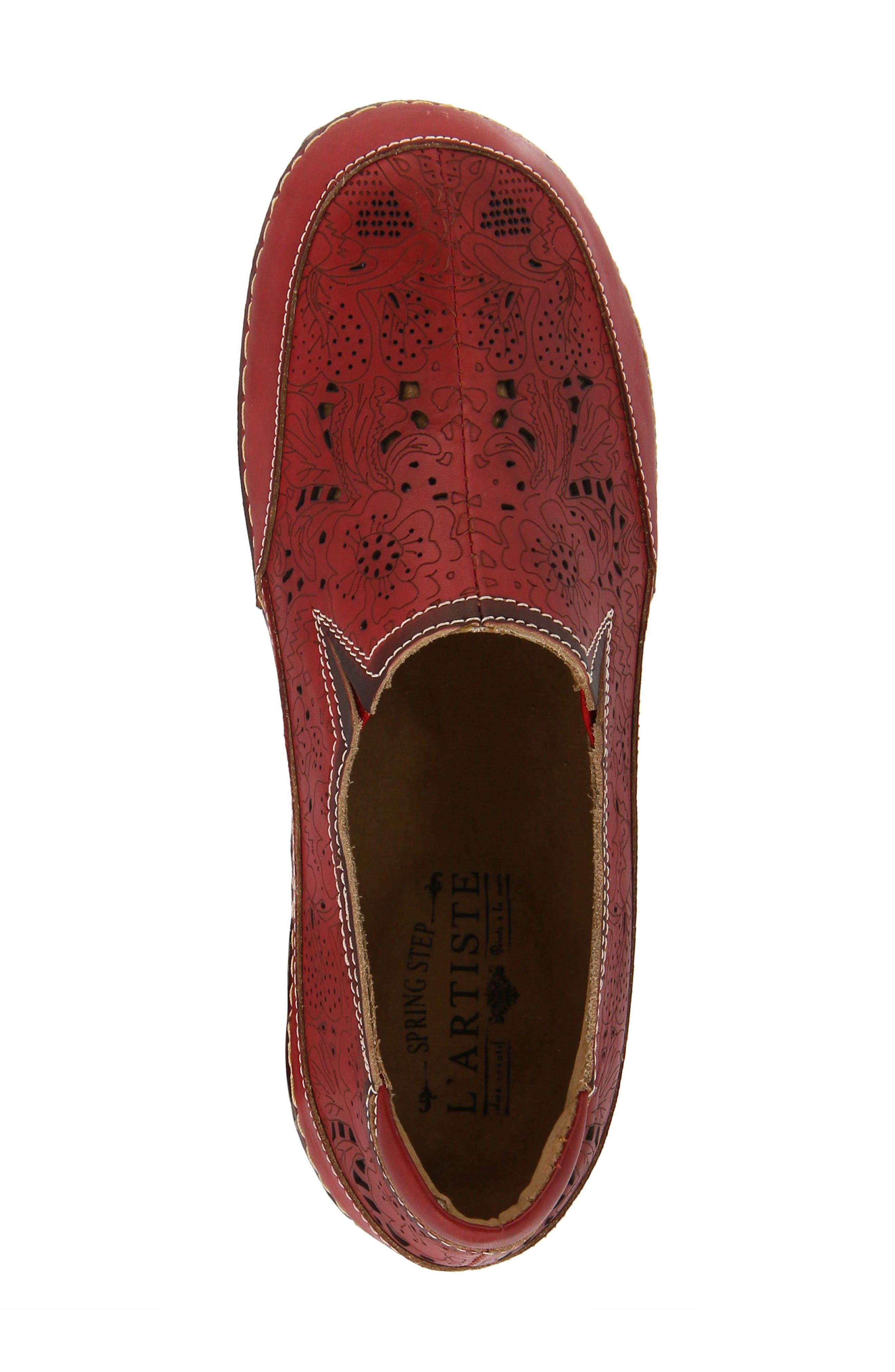 L'Artiste Libora Slip-On Flat,                             Alternate thumbnail 4, color,                             Red Leather