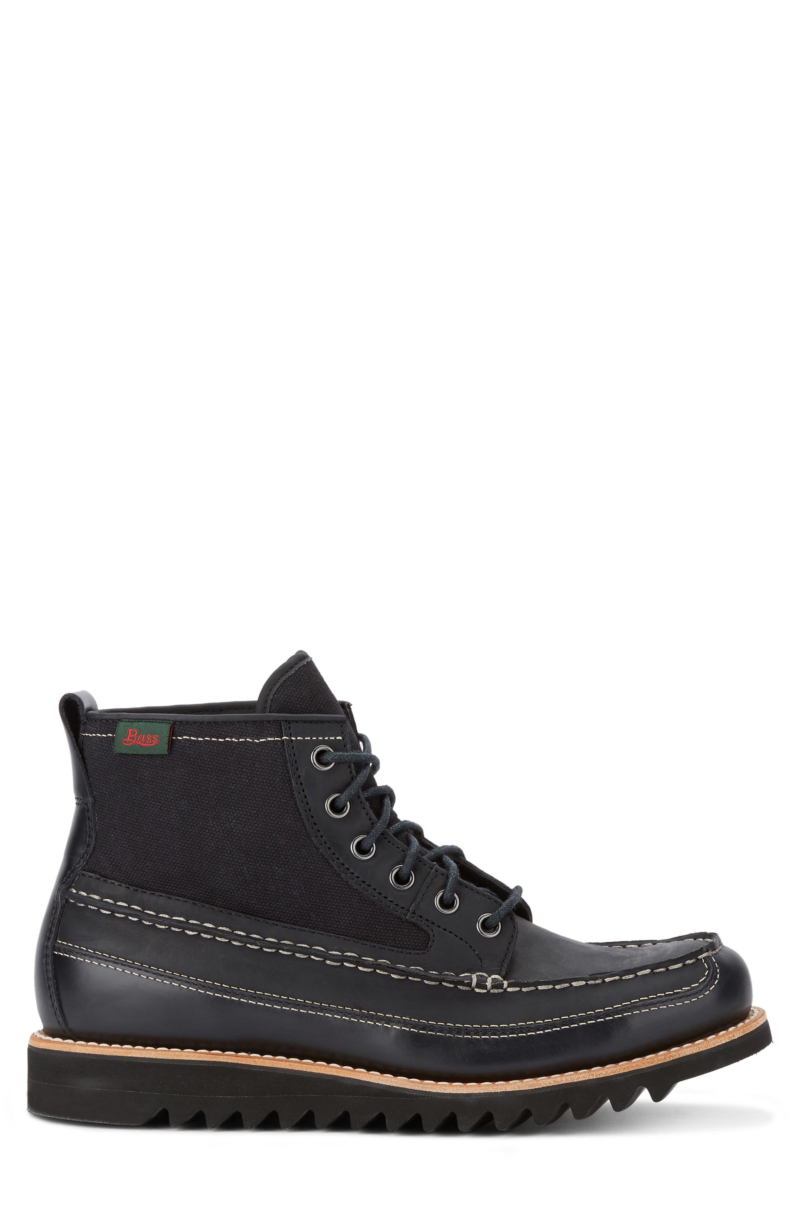 Nickson Razor Moc Toe Boot,                             Alternate thumbnail 3, color,                             Black