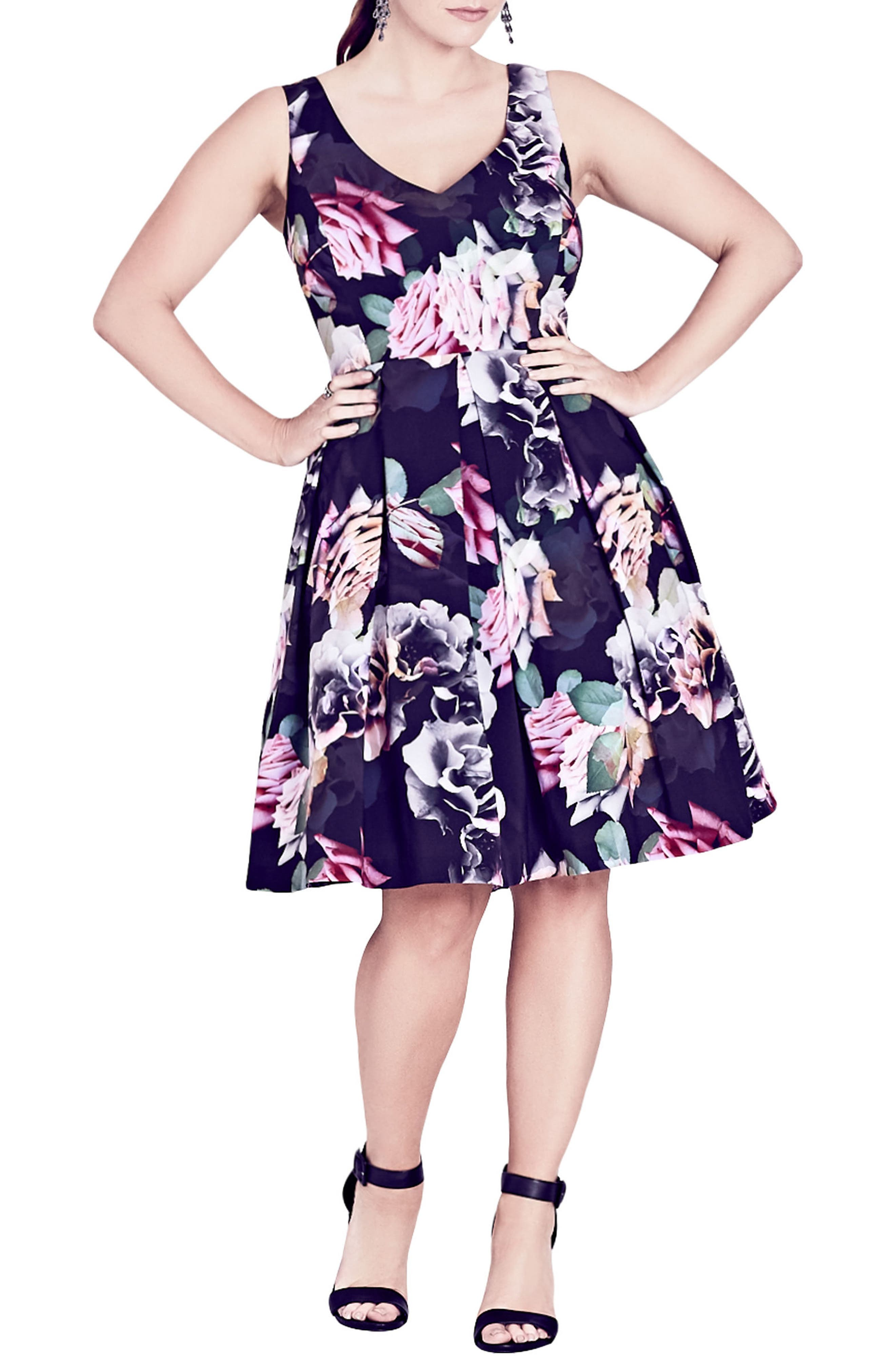 Rose Jewel Fit & Flare Dress,                         Main,                         color, Black