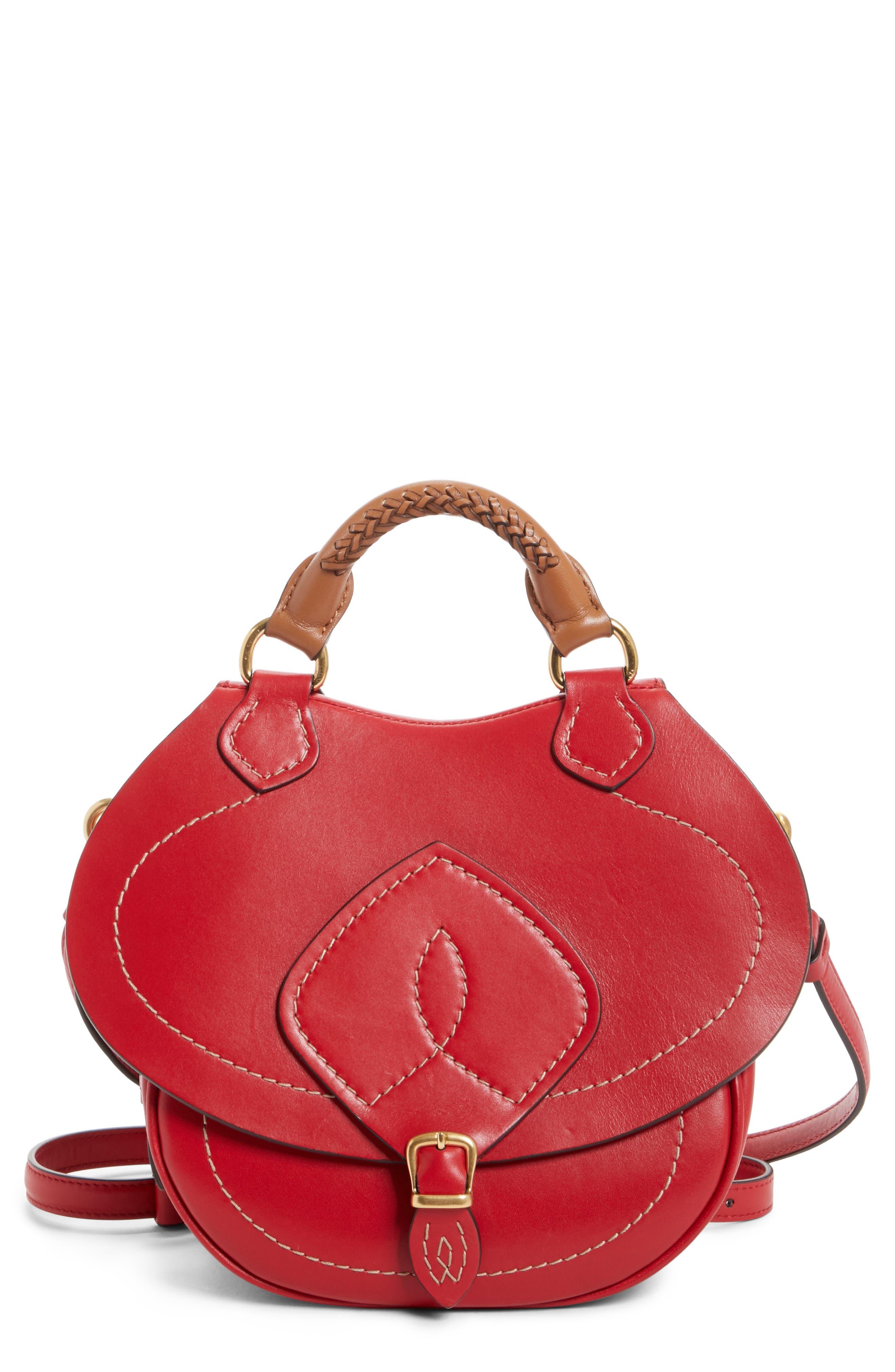 Small Bag-Slide Leather Shoulder Bag,                             Main thumbnail 1, color,                             Red