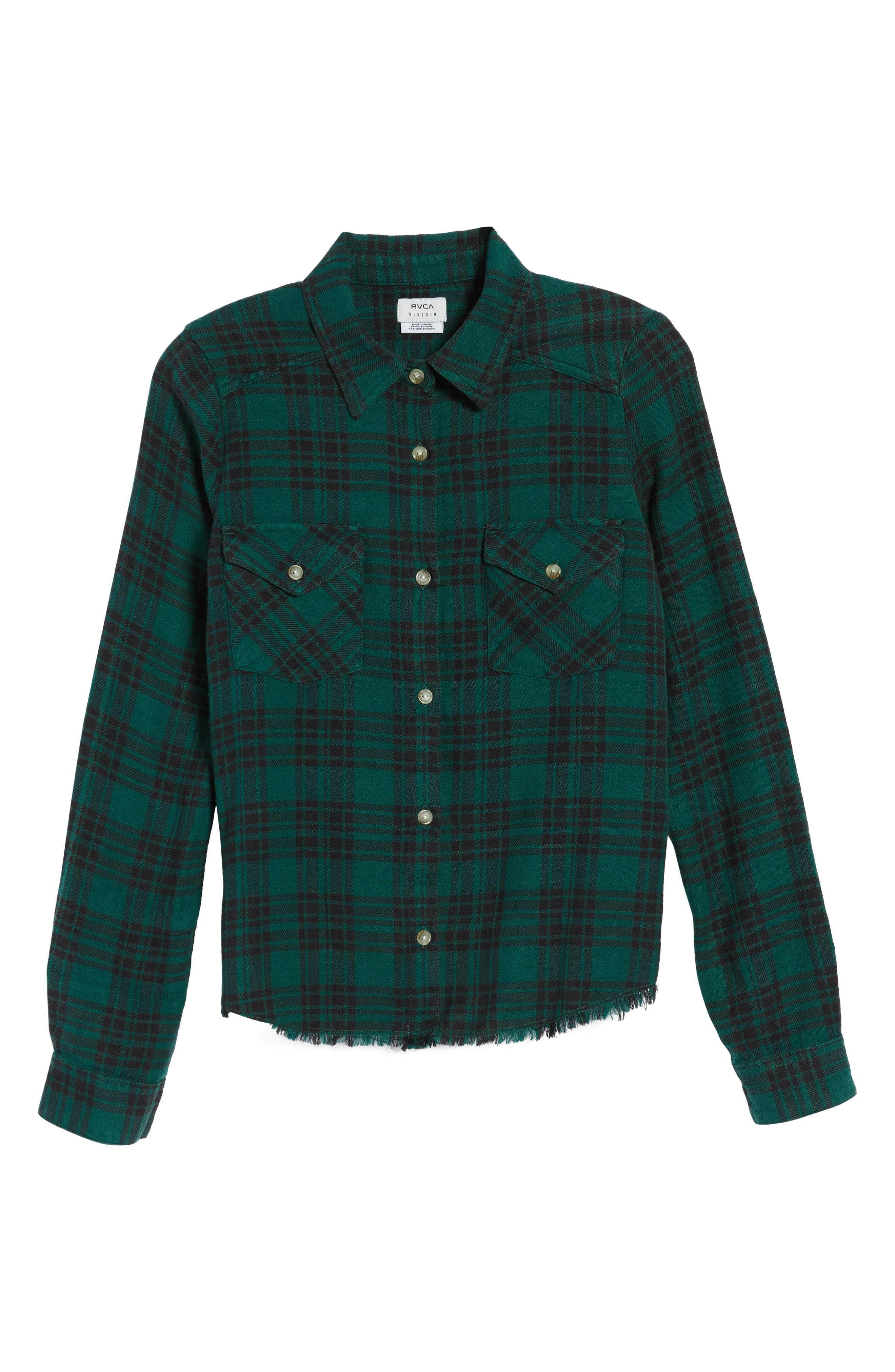 In a Haze Plaid Cotton Shirt,                             Alternate thumbnail 6, color,                             Garden Green