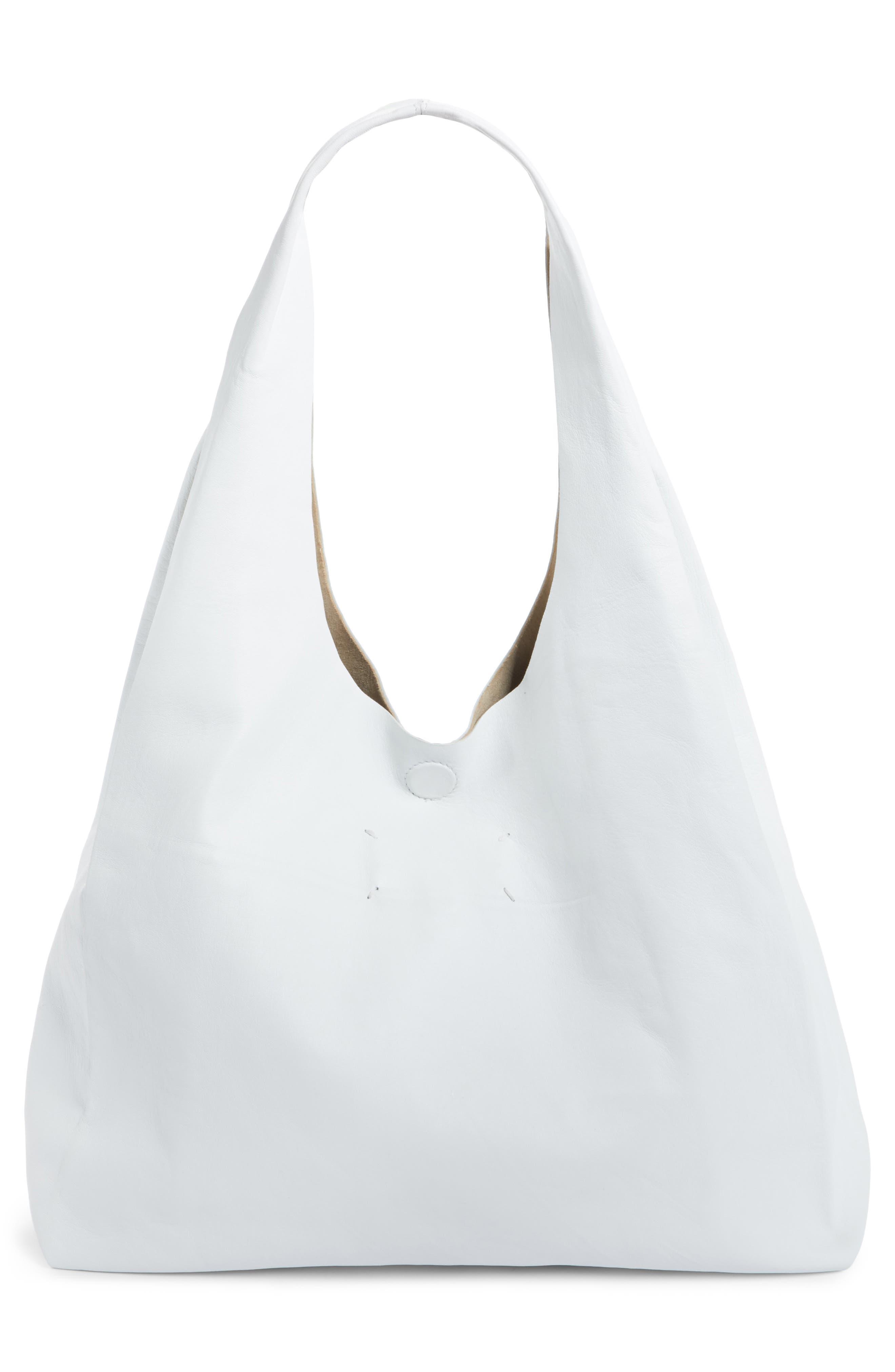 Calfskin Leather Shopper,                             Alternate thumbnail 3, color,                             White