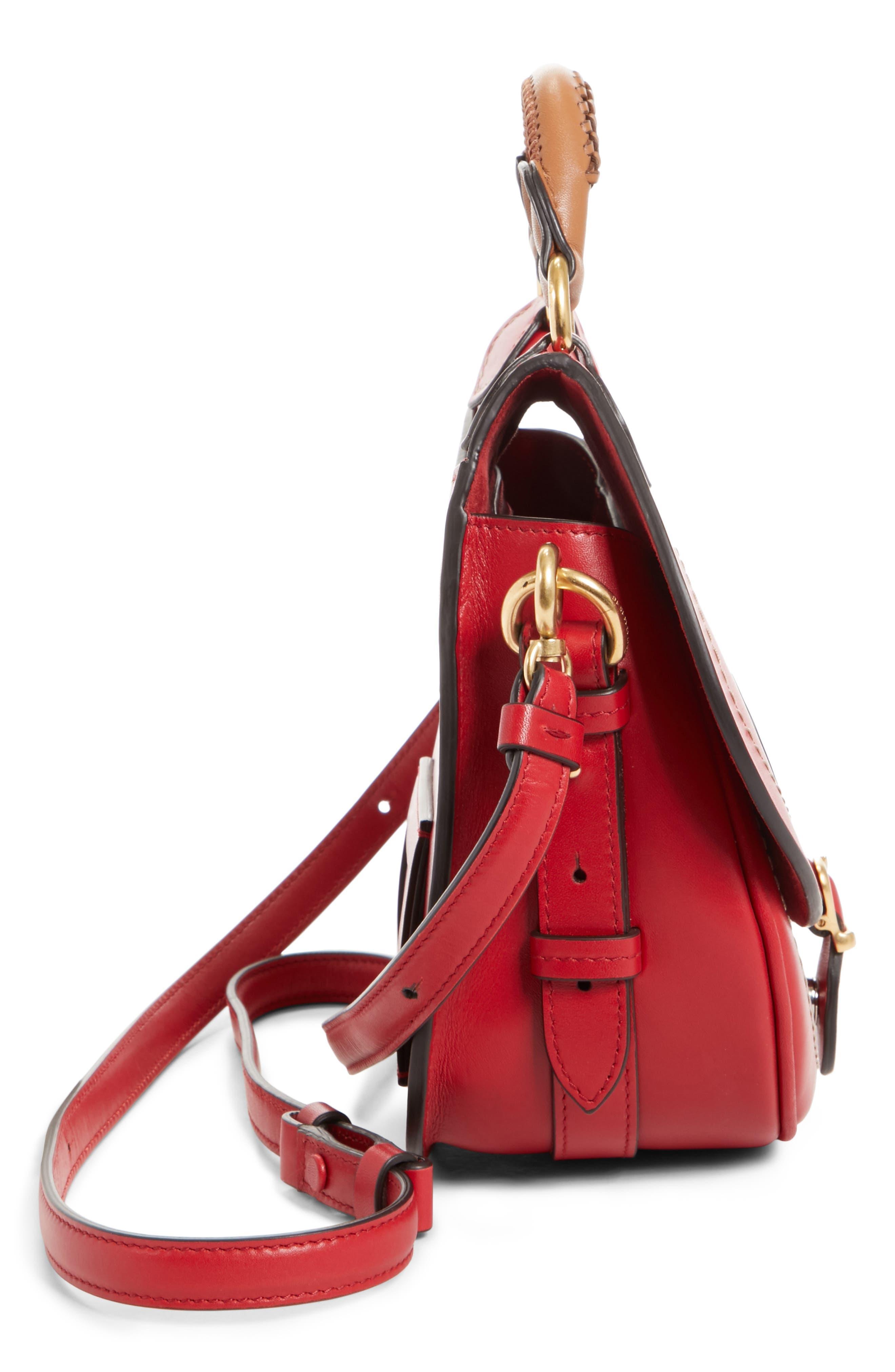 Small Bag-Slide Leather Shoulder Bag,                             Alternate thumbnail 5, color,                             Red
