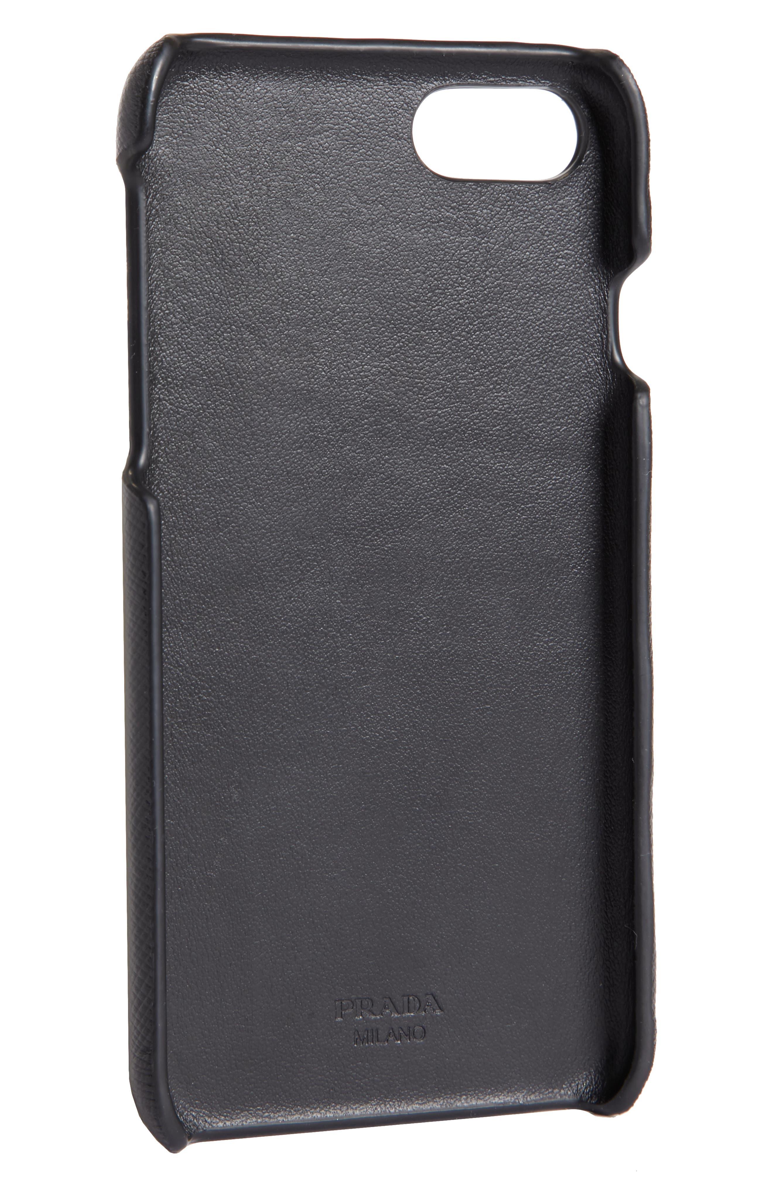 Saffiano Leather iPhone 6/6s/7/8 Case,                             Alternate thumbnail 2, color,                             Nero