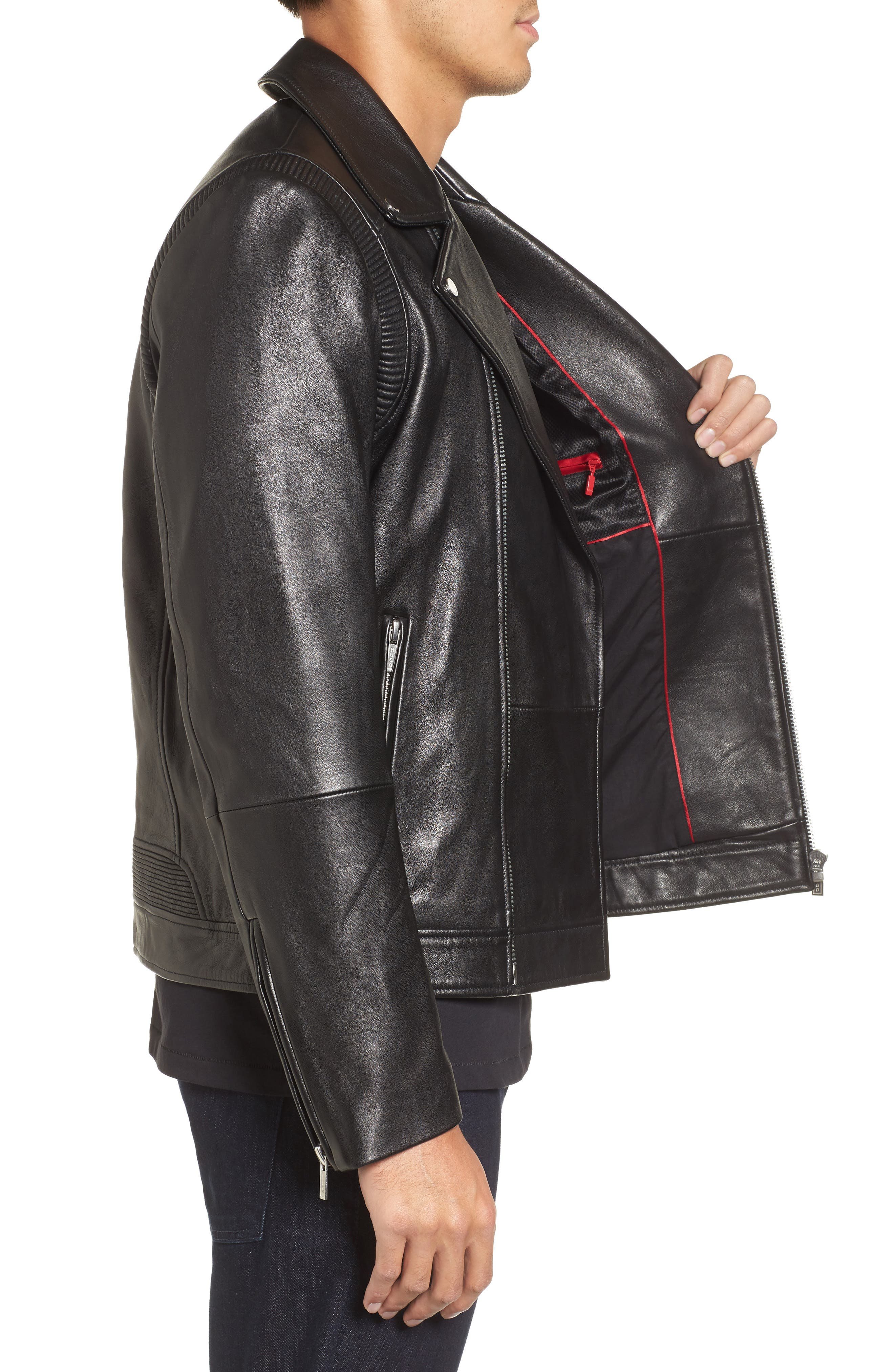 Laston Leather Moto Jacket,                             Alternate thumbnail 3, color,                             Black