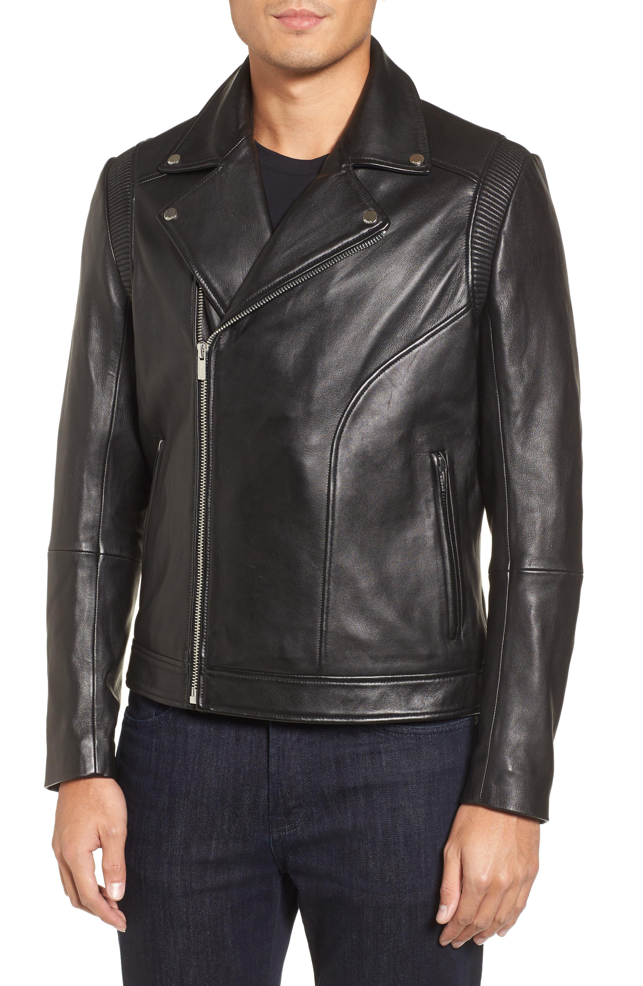 Laston Leather Moto Jacket,                             Main thumbnail 1, color,                             Black