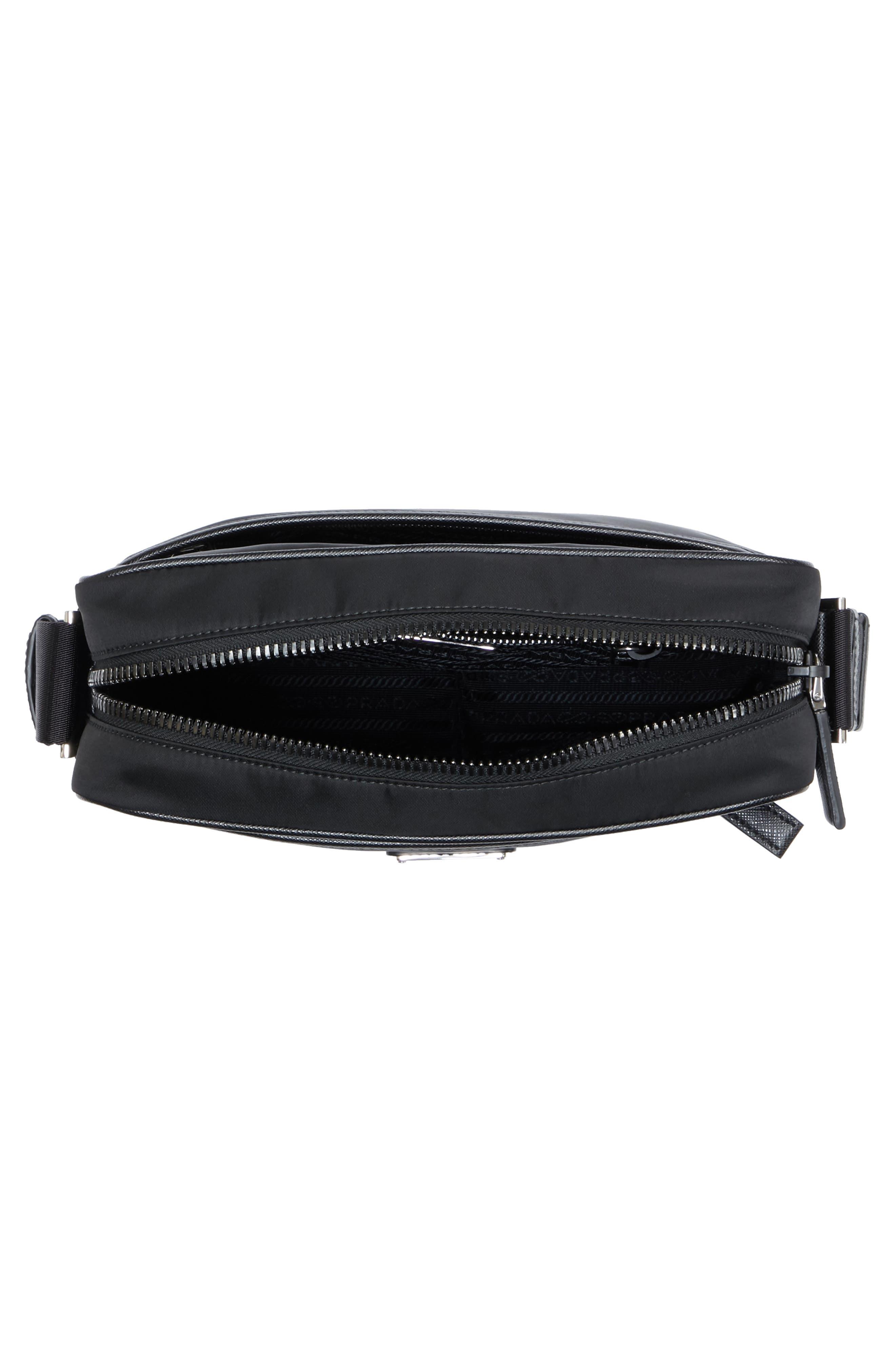 Saffiano Leather Crossbody Bag,                             Alternate thumbnail 3, color,                             Nero