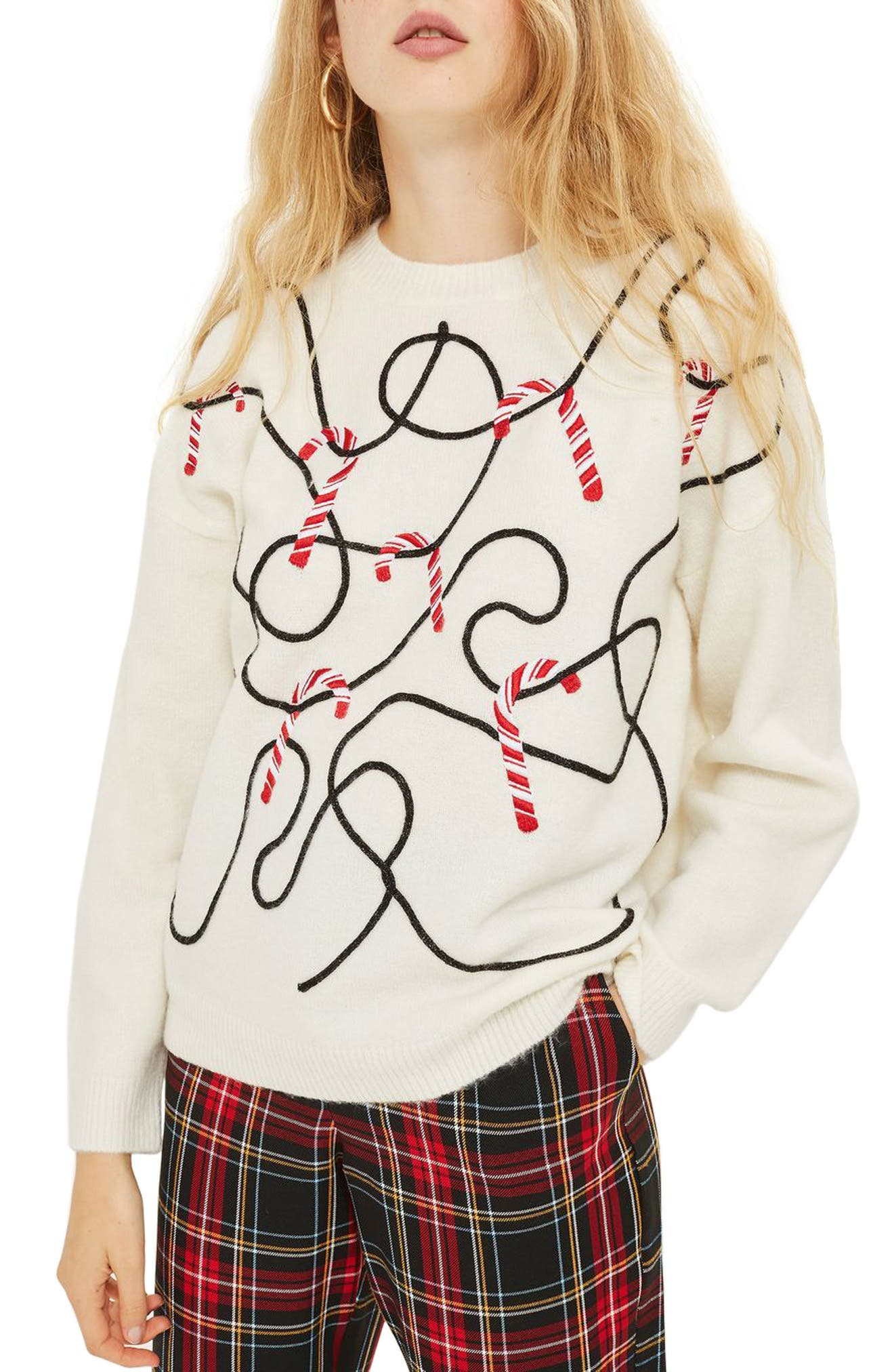 Topshop Candy Cane Sweater