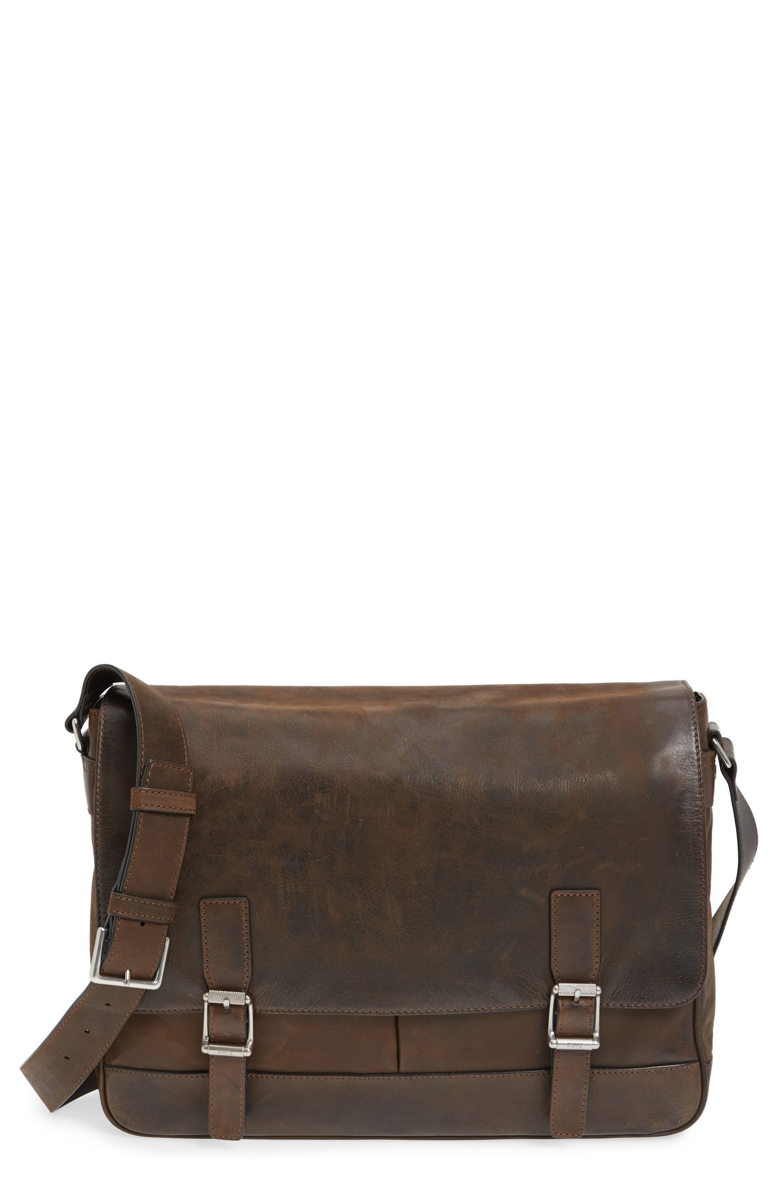 Oliver Leather Messenger Bag,                             Main thumbnail 1, color,                             Dark Brown