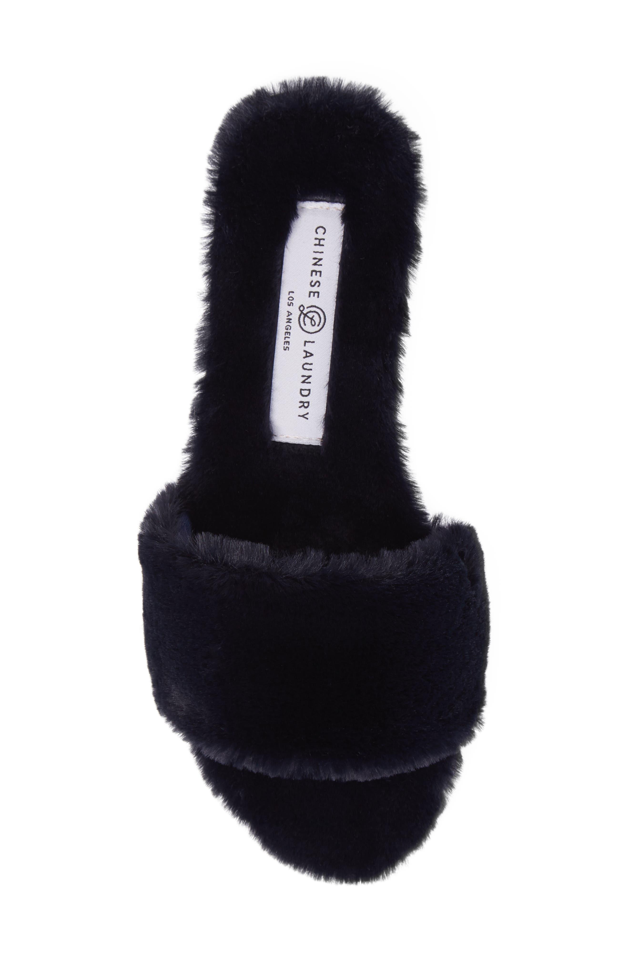 Mulholland Faux Fur Slide Sandal,                             Alternate thumbnail 5, color,                             Navy